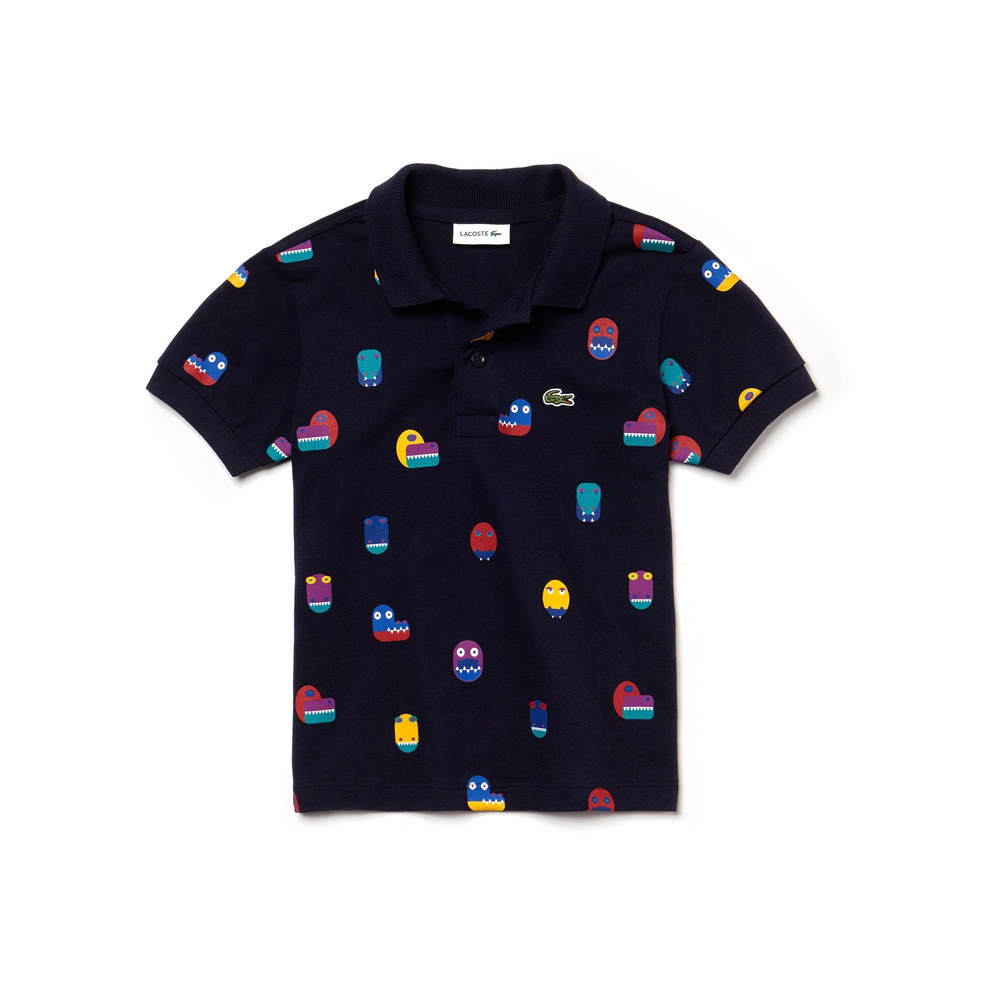 Jungen-Poloshirt mit Krokodilprint aus Baumwoll-Mini Piqué