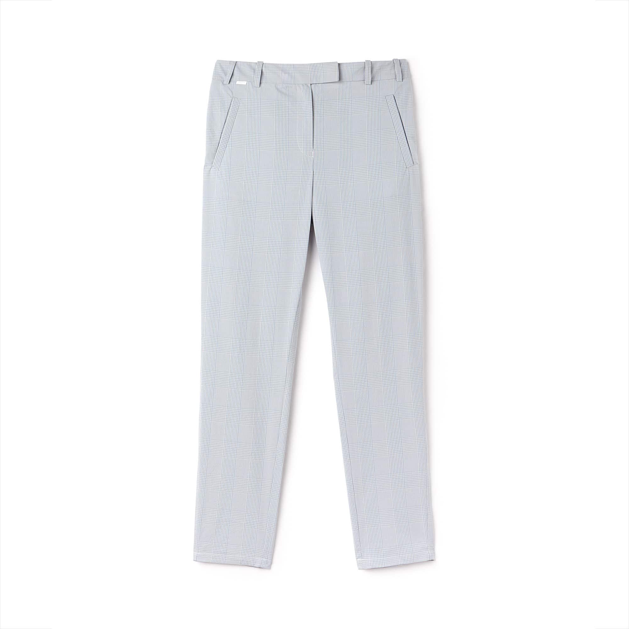 Damen Slim Fit Seersucker Karo-Hosen aus Baumwolle
