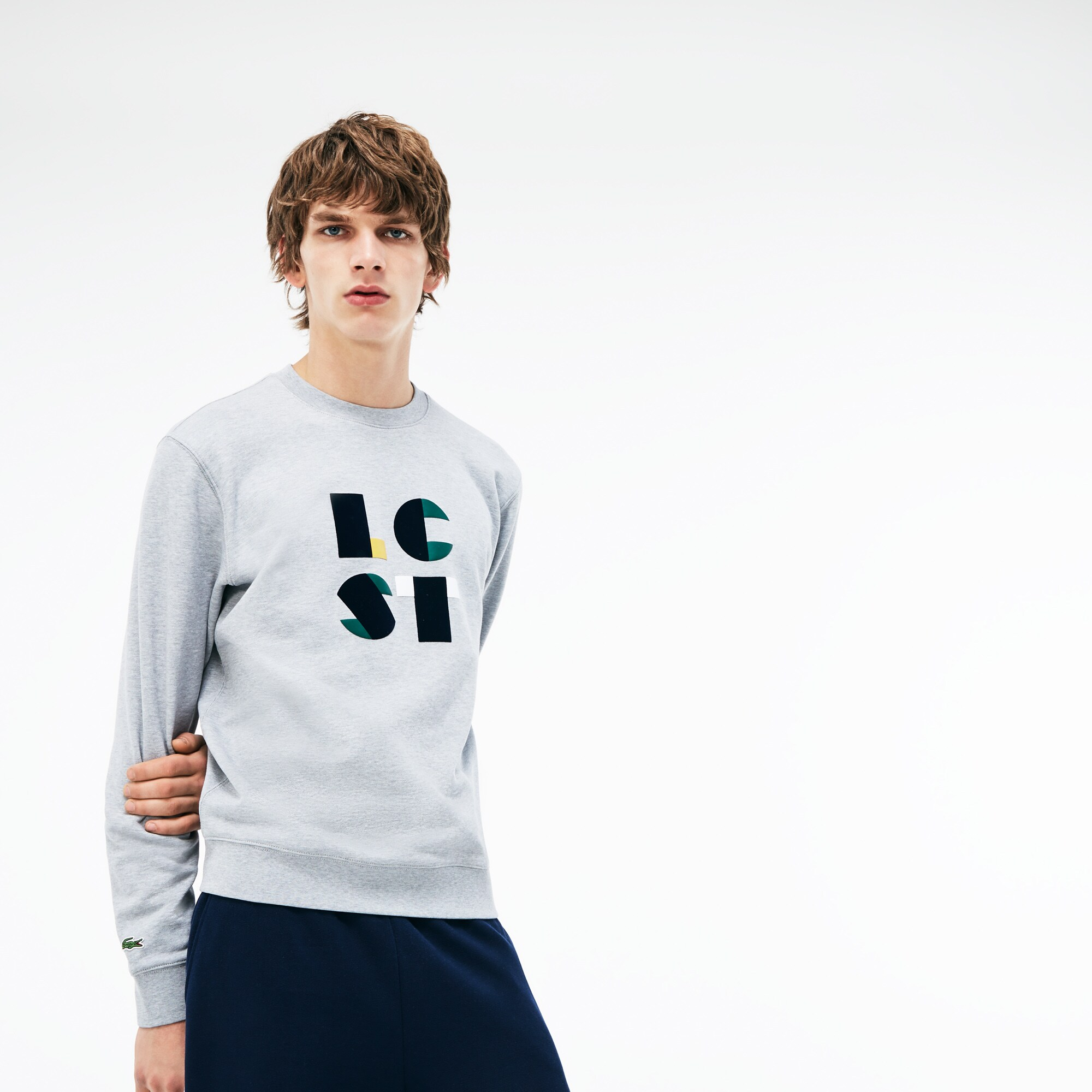 Herren Rundhals-Sweatshirt mit LACOSTE Schriftzug