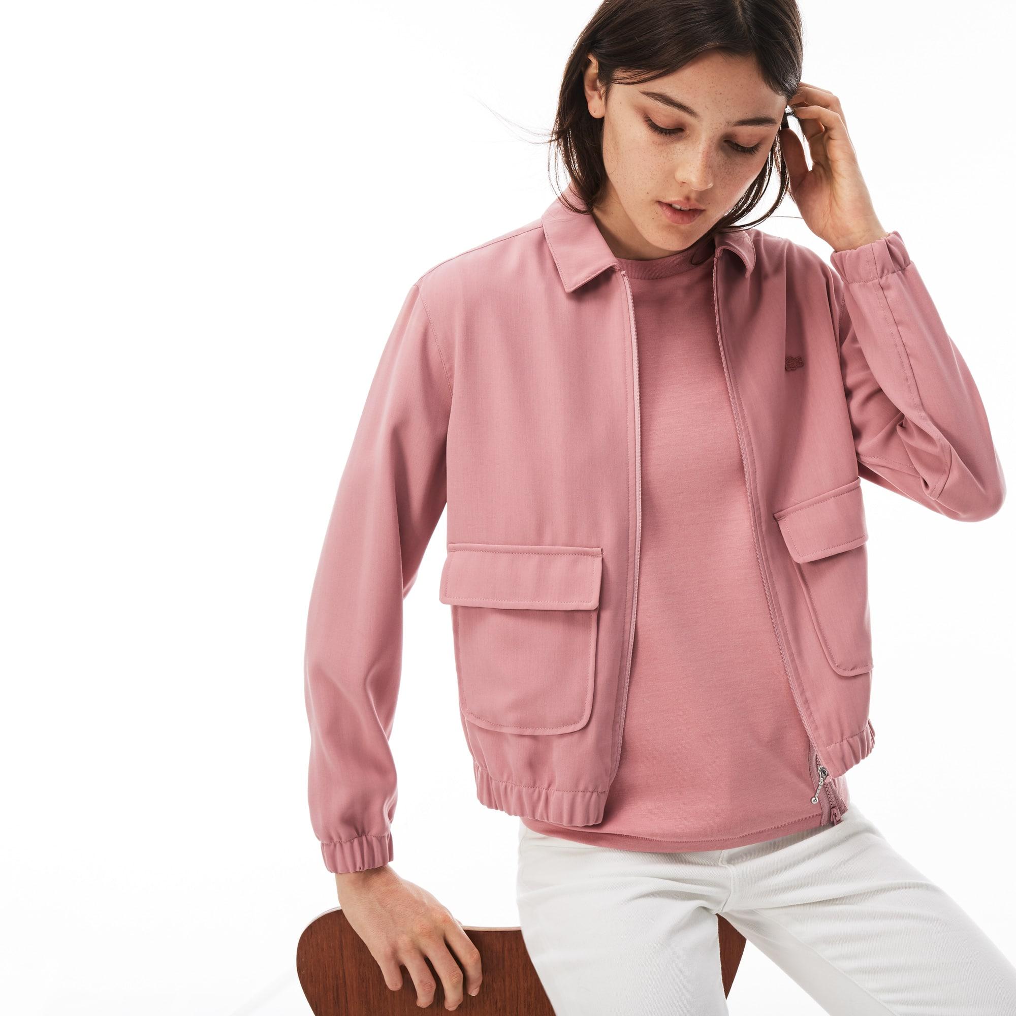 Kurze Damen-Jacke aus Krepp mit Reißverschluss LACOSTE L!VE