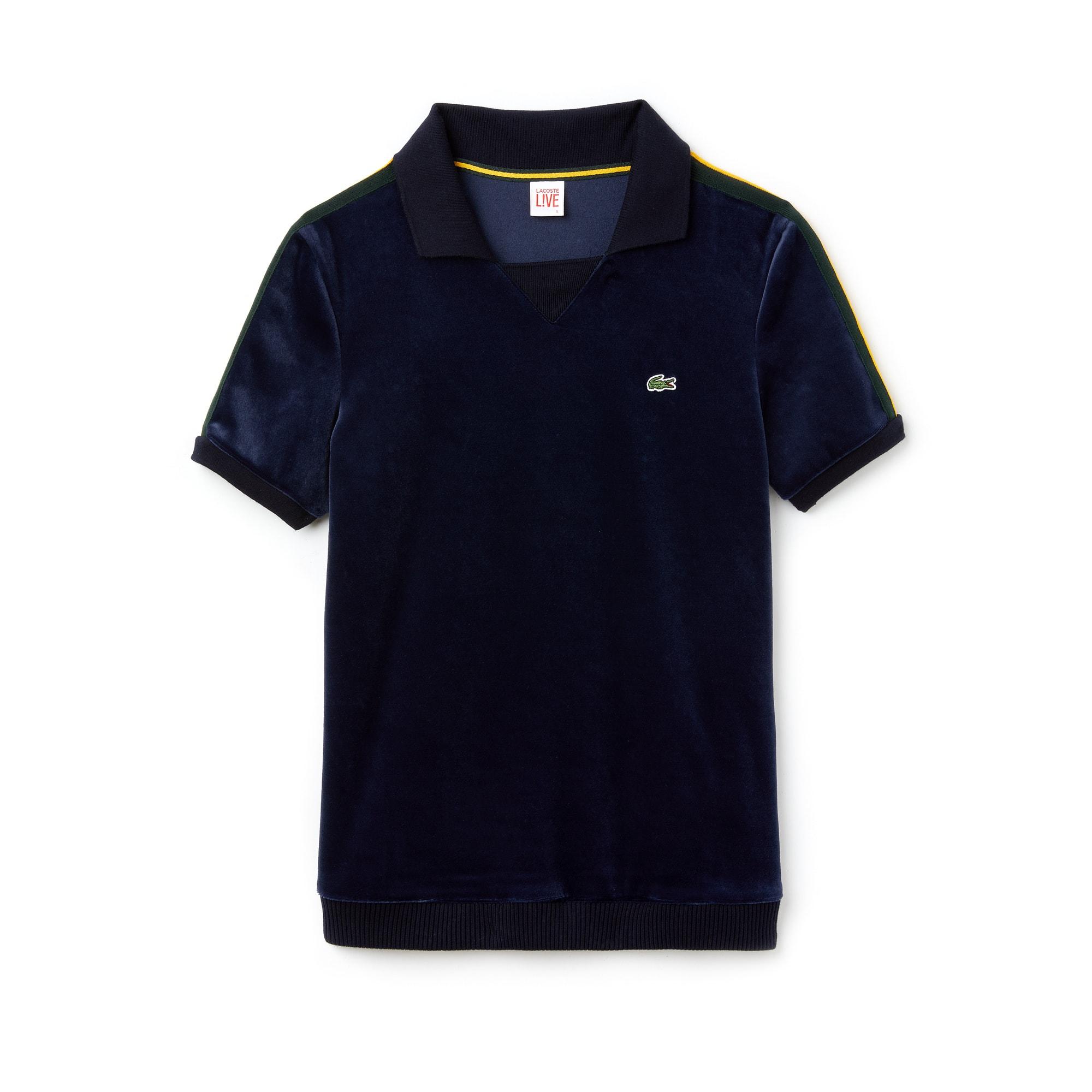 Damen LACOSTE L!VE Boxy Fit Velours-Poloshirt mit Kontraststreifen