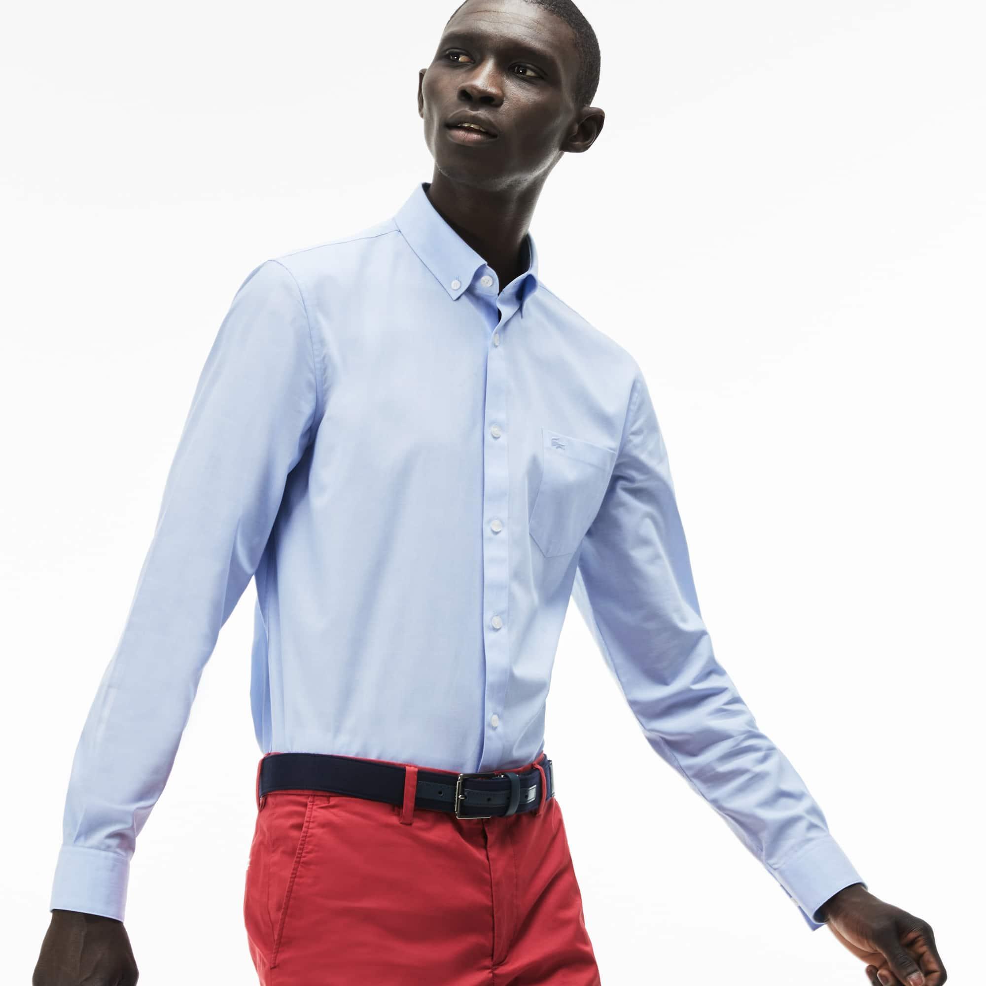Regular Fit Herren-Hemd aus Salt-and-Pepper-Baumwolle