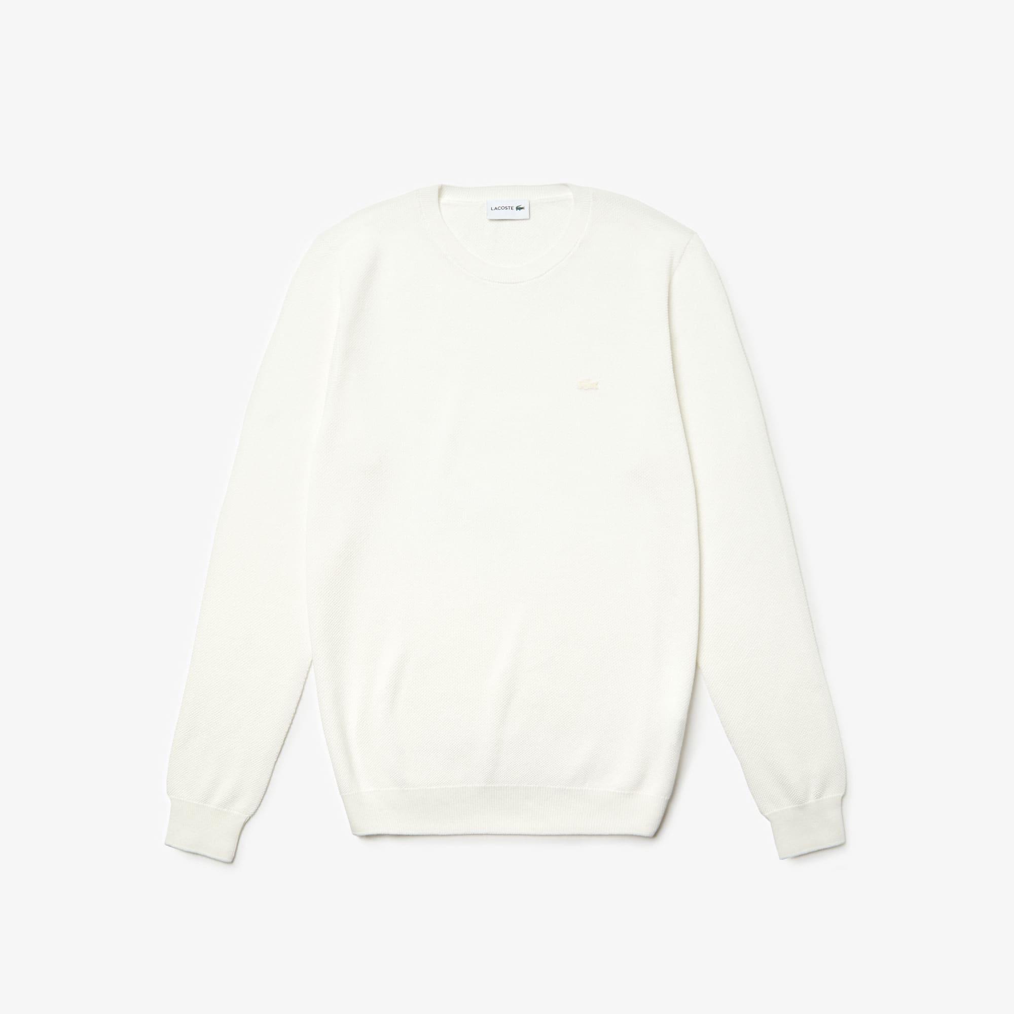 Herren-Rundhals-Pullover aus Baumwoll-Piqué