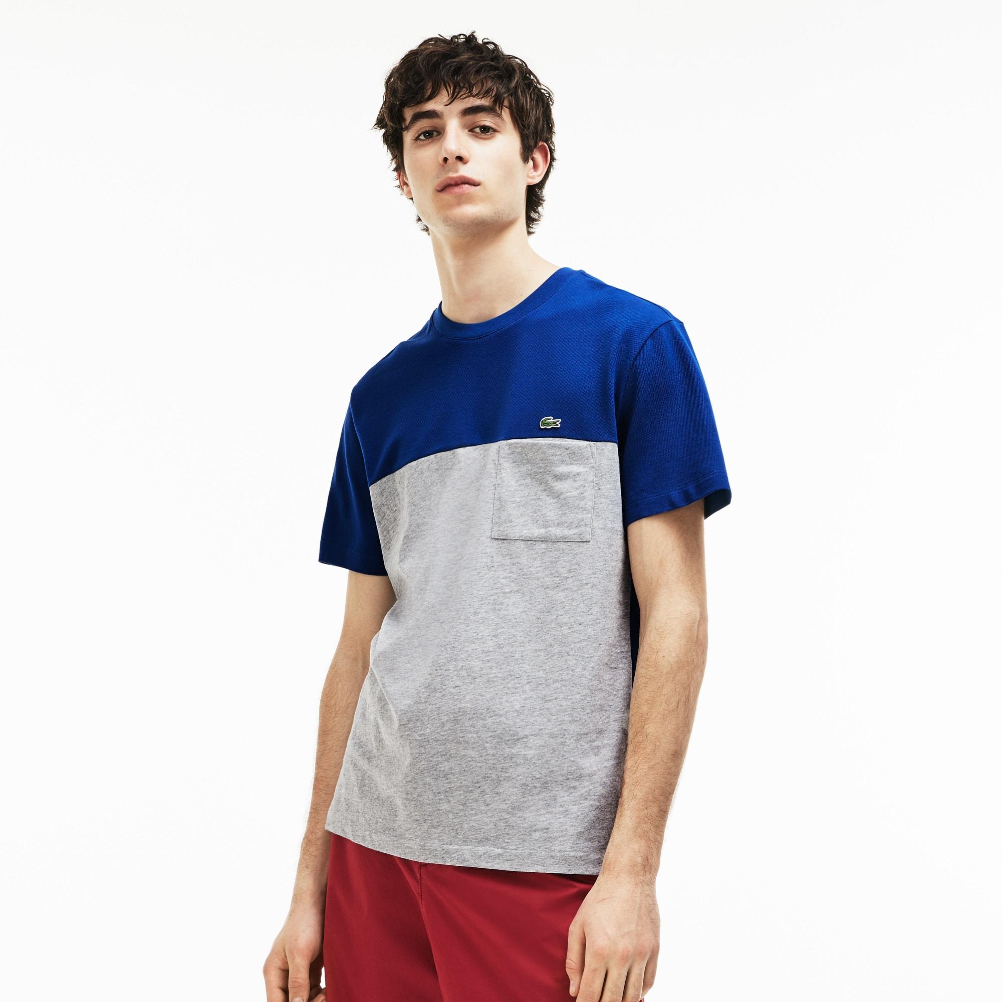 Herren-Rundhals-T-Shirt aus Mini-Piqué im Colorblock-Design