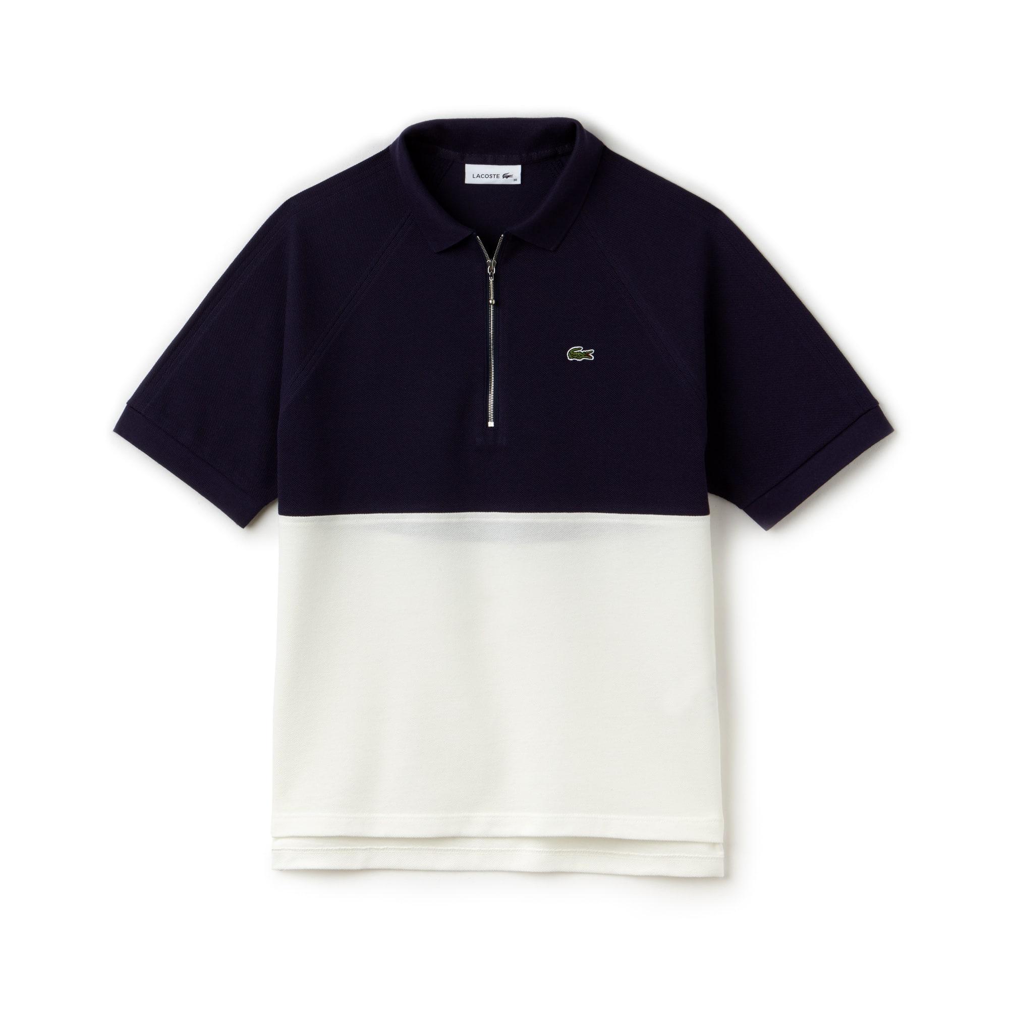 Slim Fit Damen Petit Piqué Poloshirt mit Colorblock-Design