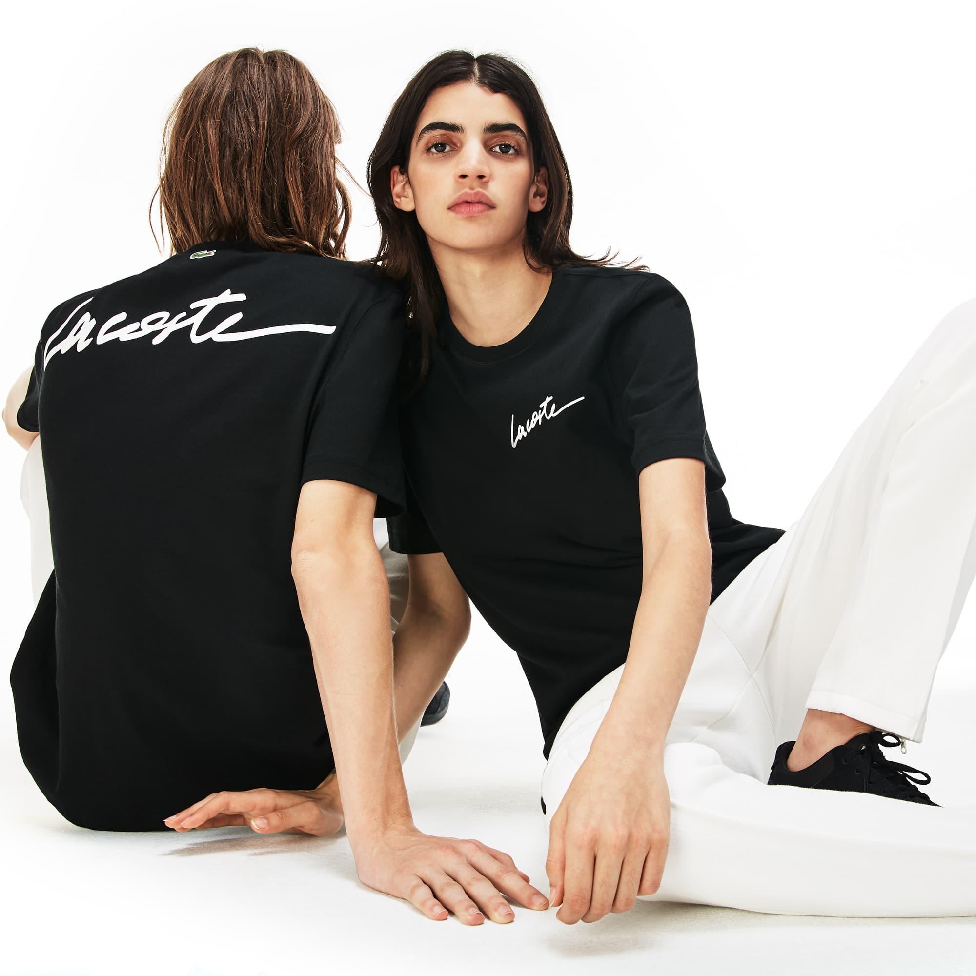 Herren LACOSTE L!VE Rundhals T-Shirt mit LACOSTE Schriftzug