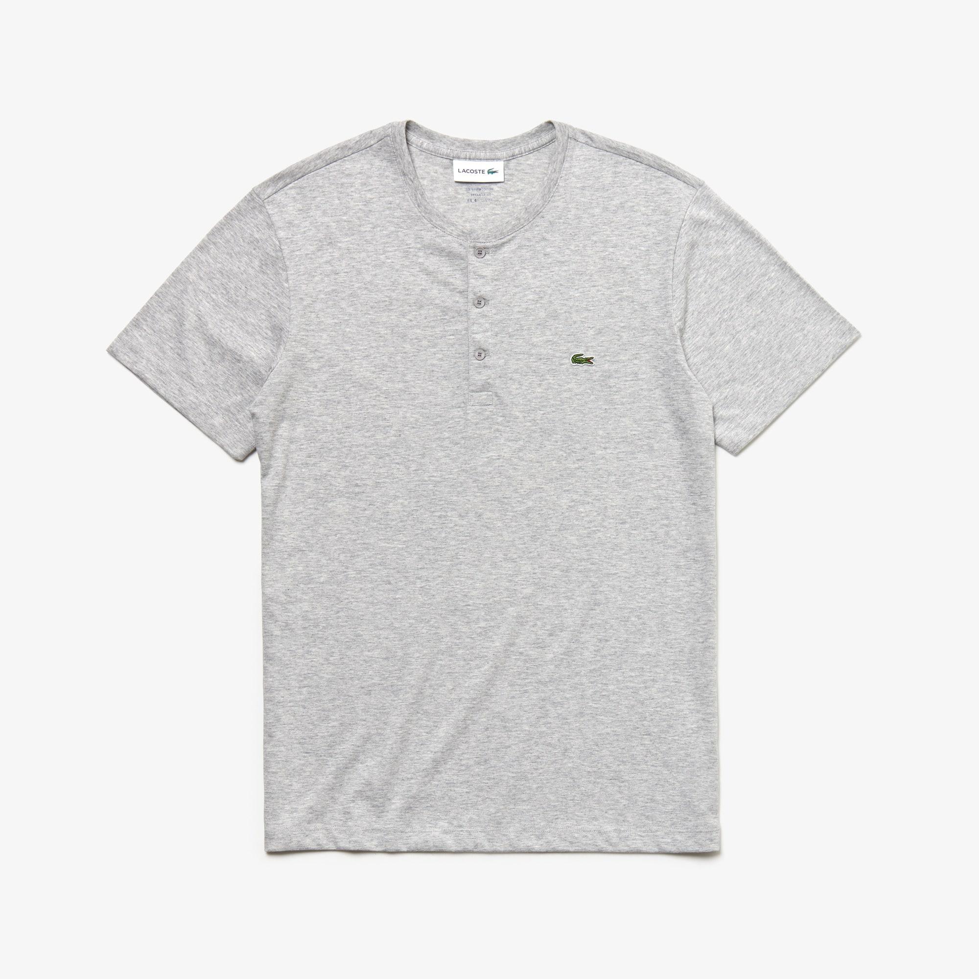Herren-T-Shirt aus Pima-Baumwolljersey mit Henley-Kragen