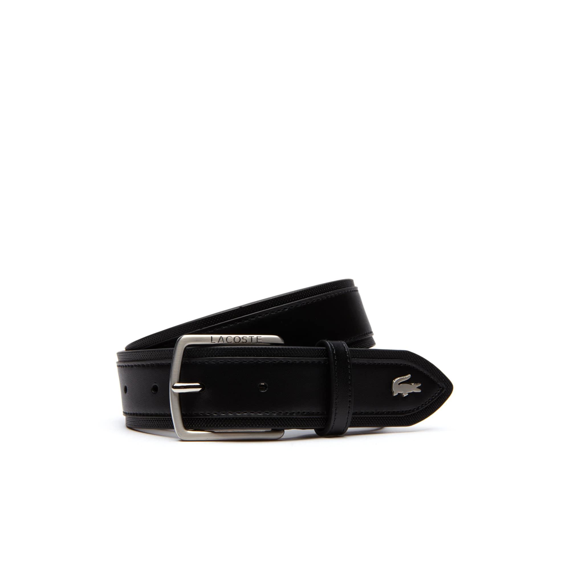 Herrengürtel aus Glatt- und Piqué-Leder mit Piquéschlaufe
