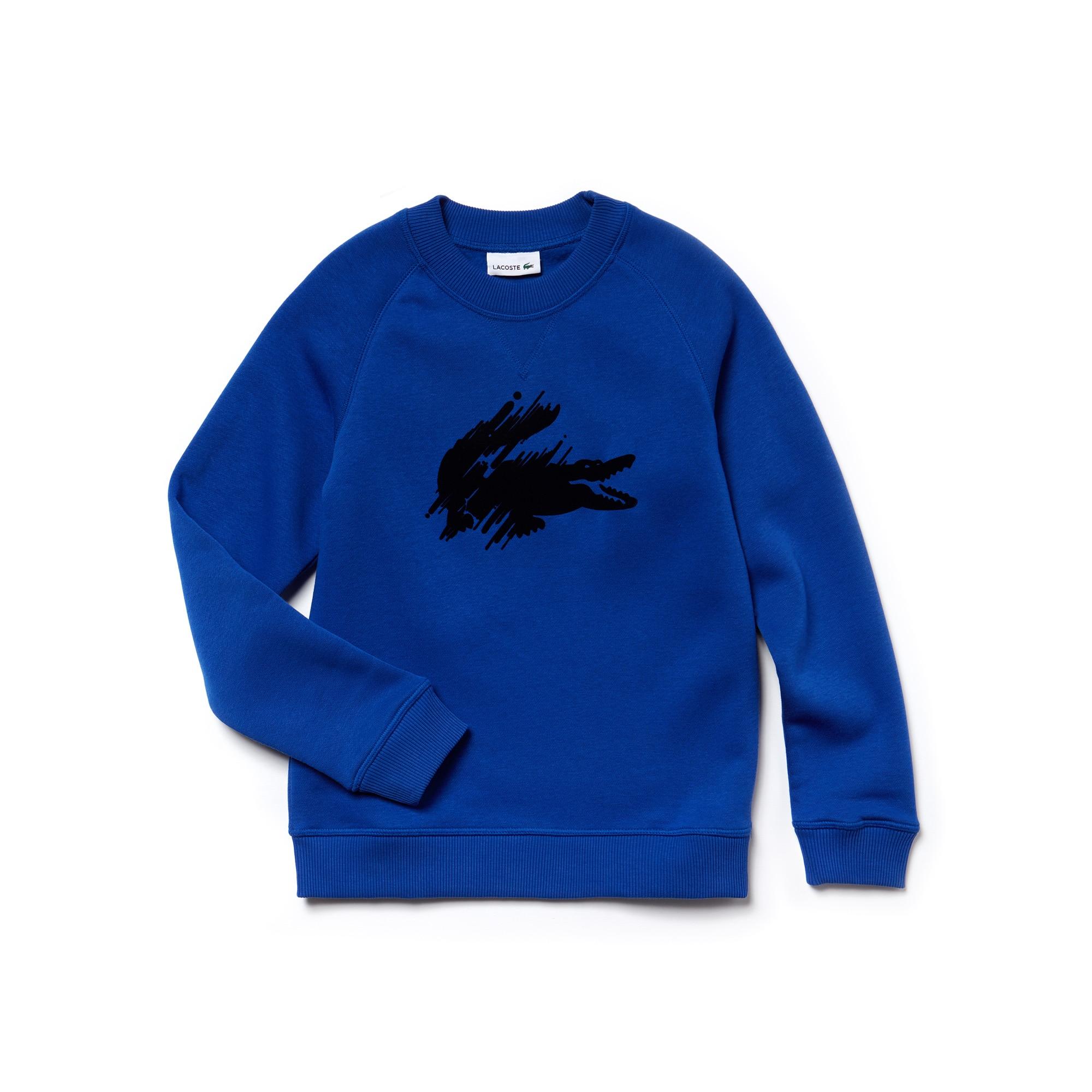 Jungen-Sweatshirt aus Fleece mit Krokodilaufdruck