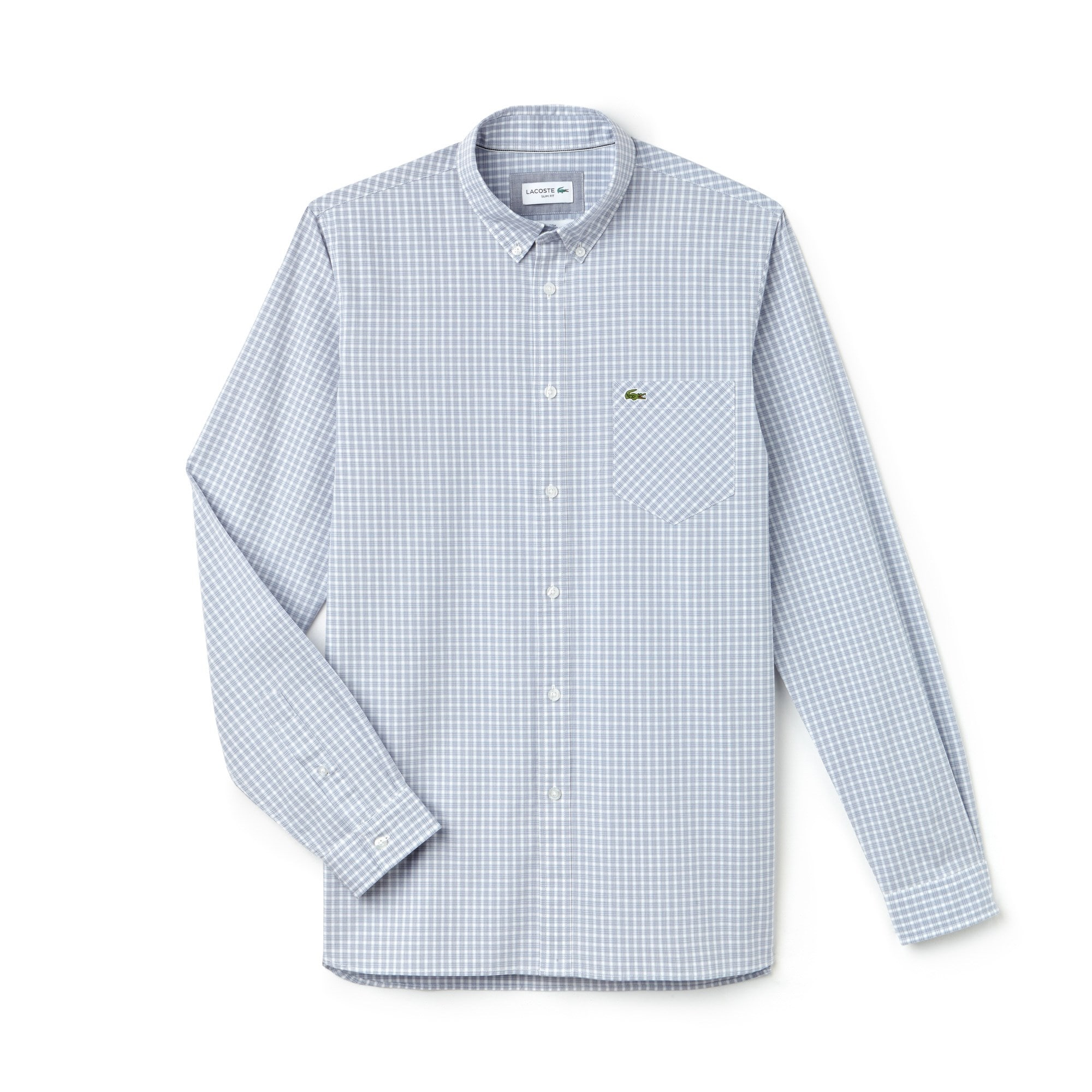 Slim Fit Herren-Hemd aus karierter Baumwoll-Popeline mit Stretch