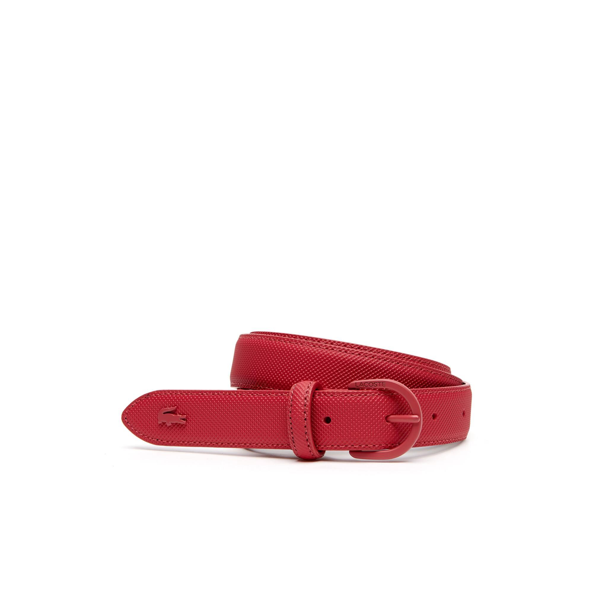 Einfarbiger Piqué-Damengürtel L.12.12 Concept mit Dornschließe