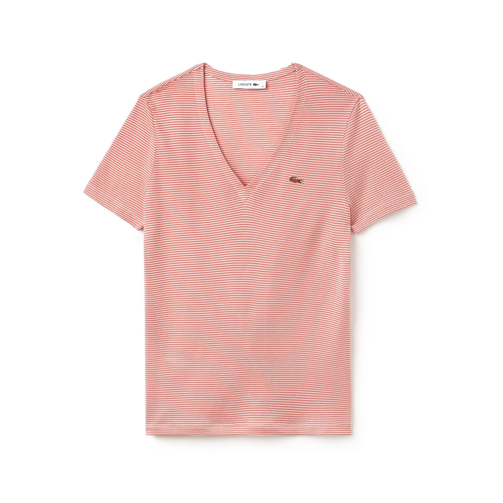 Damen-T-Shirt aus Ottoman-Baumwolljersey mit Nadelstreifen