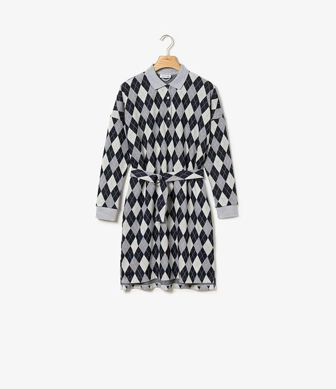 Robe polo relax jacquard en coton et laine avec ceinture amovible