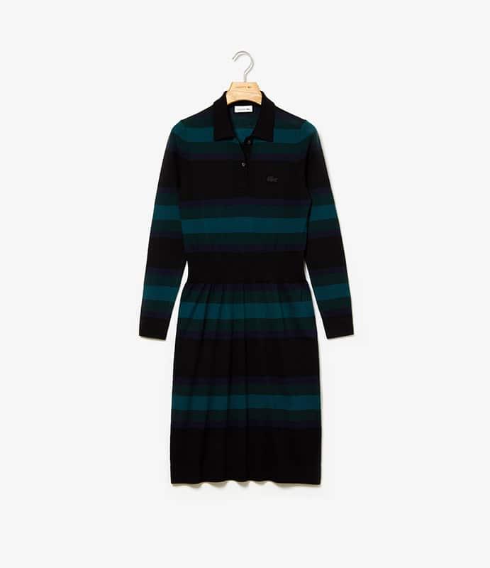 Robe polo en laine rayée avec taille ajustée