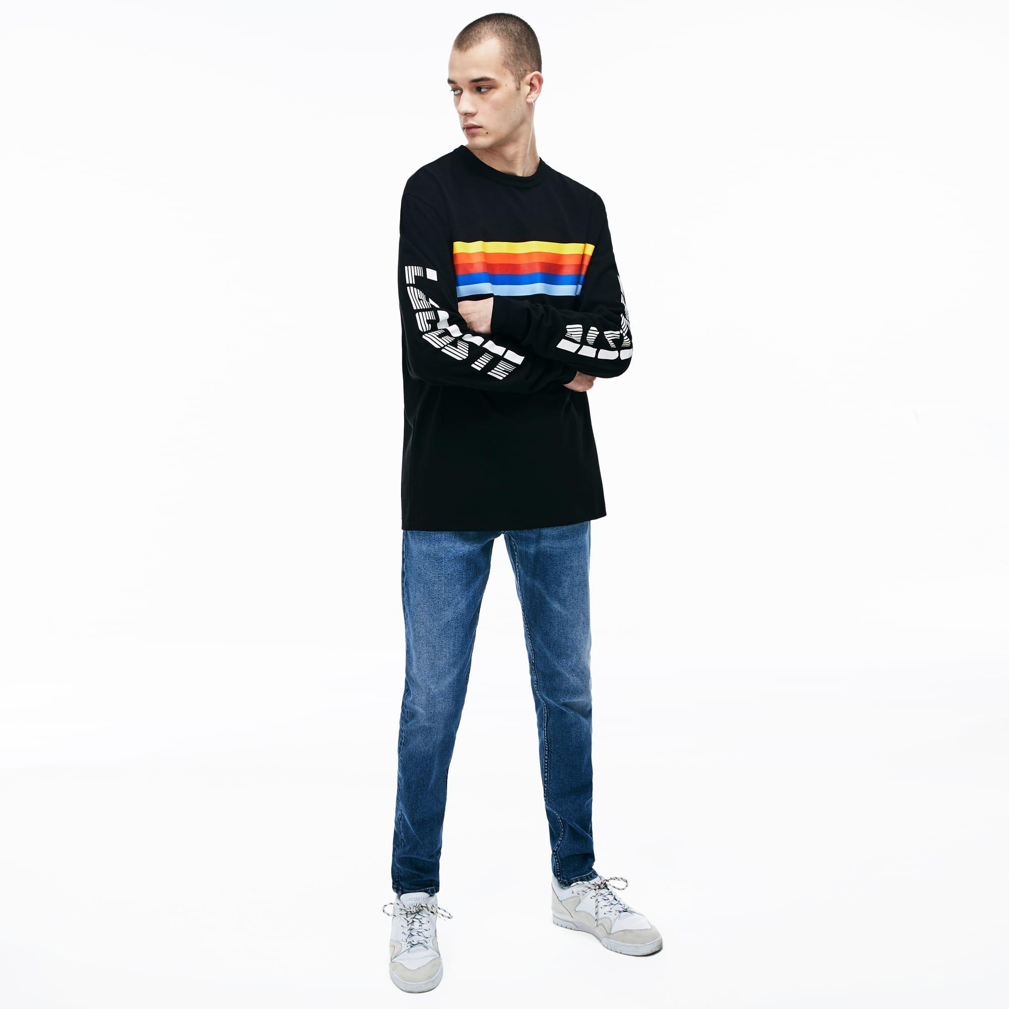 Rayé Lacoste Coton Manches Ciel Shirt T Arc En Longues Live qMpUVSzG