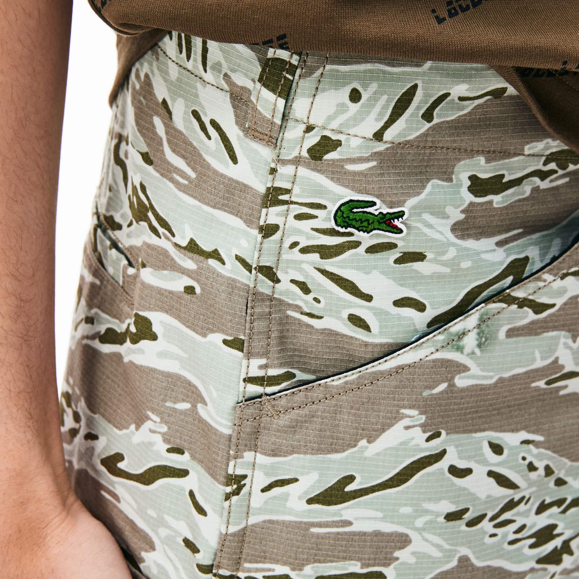 Coton Live Camouflage Bermuda Lacoste Cargo En Imprimé Ybf67gy