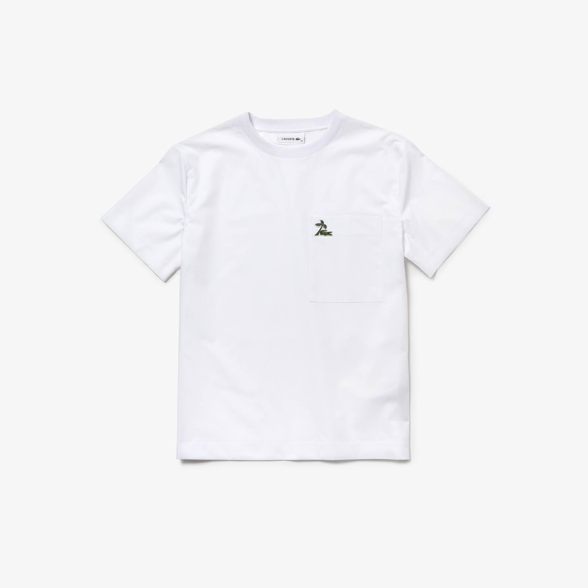 Palmier Shirt Coton Croco Avec En De Unie Col T Évasé Popeline 67fbgy