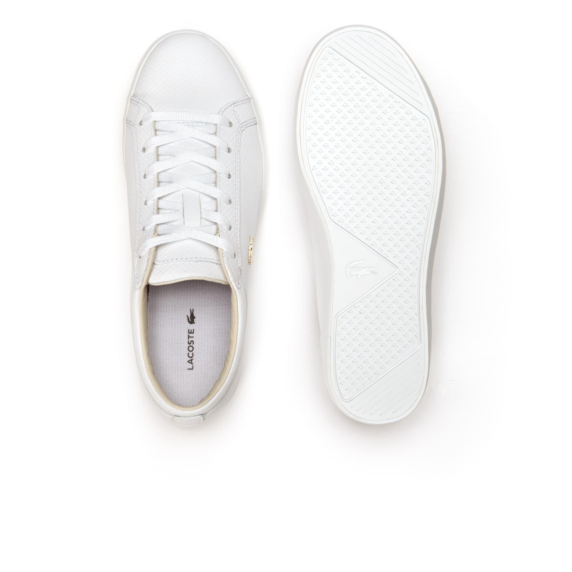 Doré Femme En Cuir Avec Crocodile Straighset Sneakers XO8wkPn0