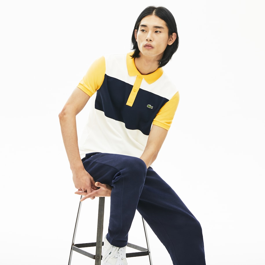 Lacoste-polo heren colorblock met stretch