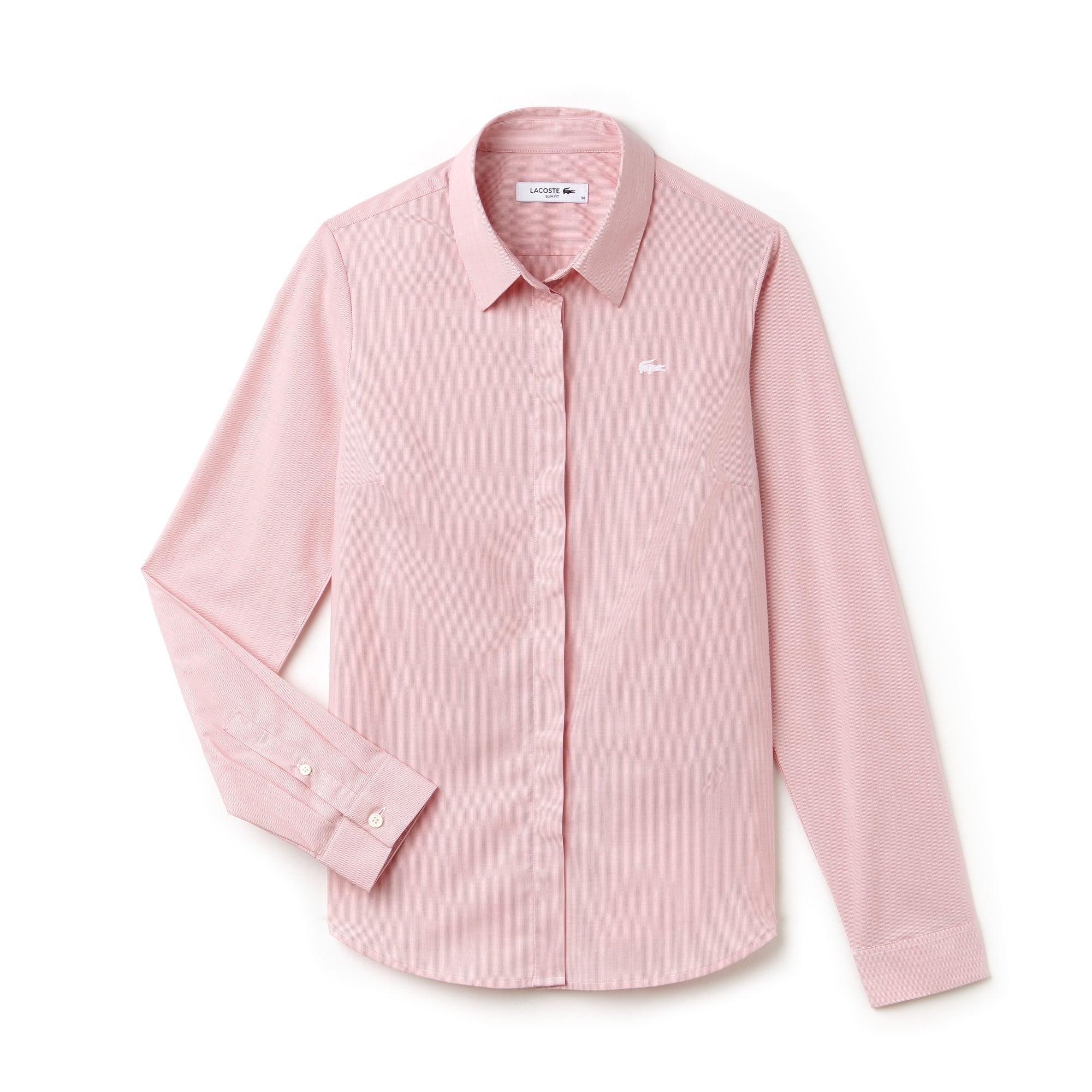 Camisa Slim Fit Masculina Listrada em Popeline de Algodão Stretch