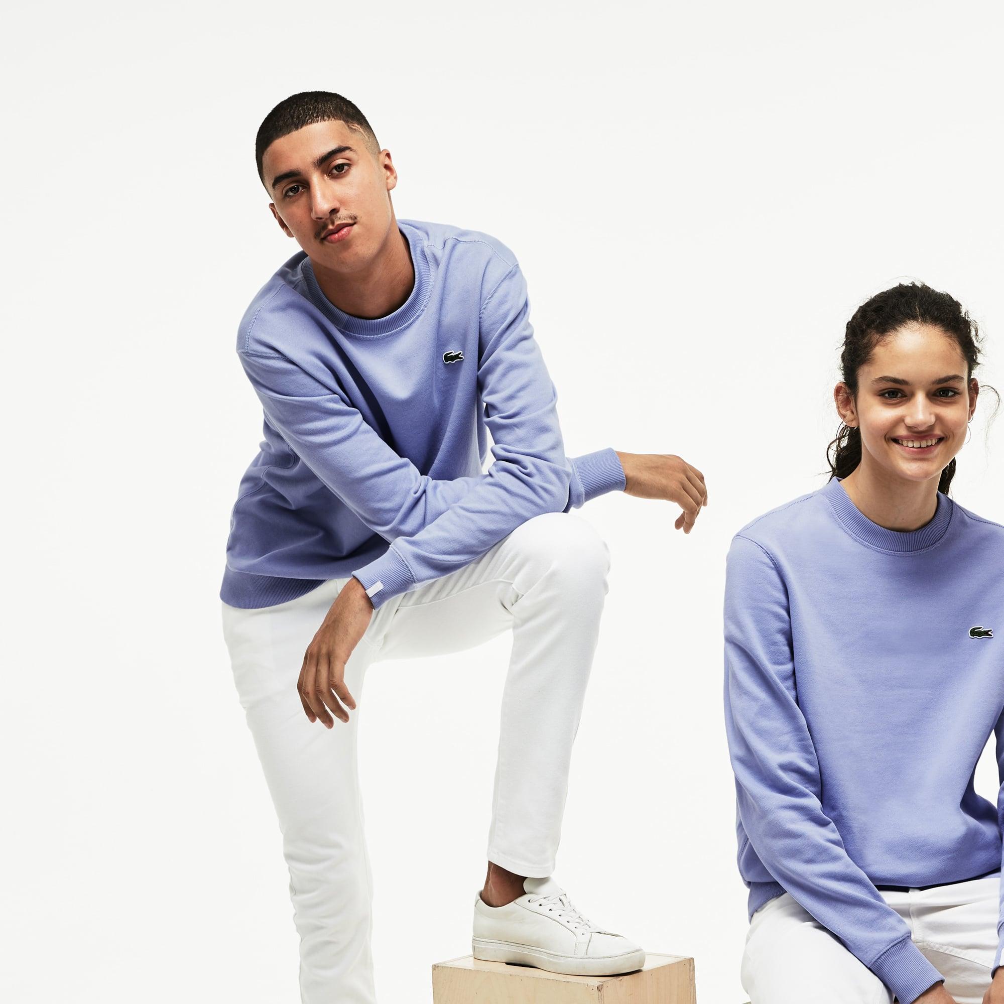 Sweatshirt decote redondo unissexo Lacoste LIVE em algodão unicolor
