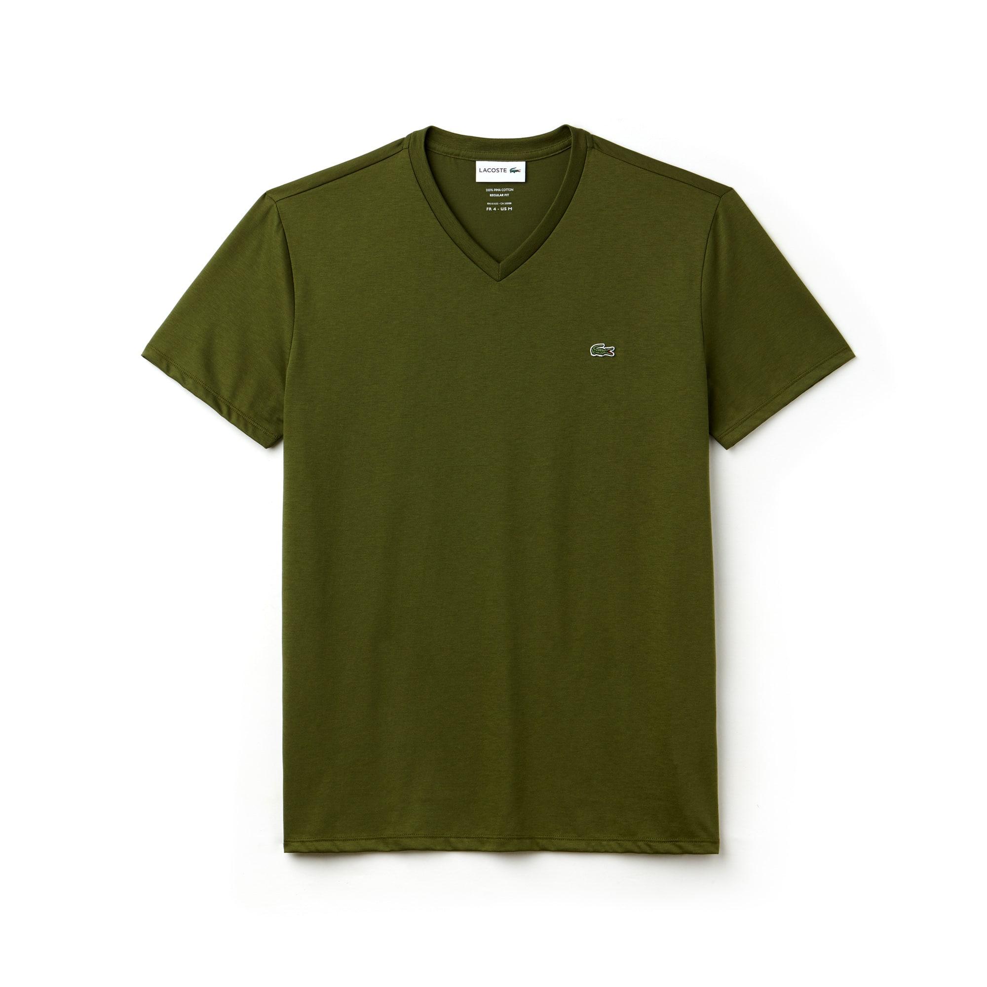 Camiseta Masculina em Jérsei de Algodão Pima com Gola V