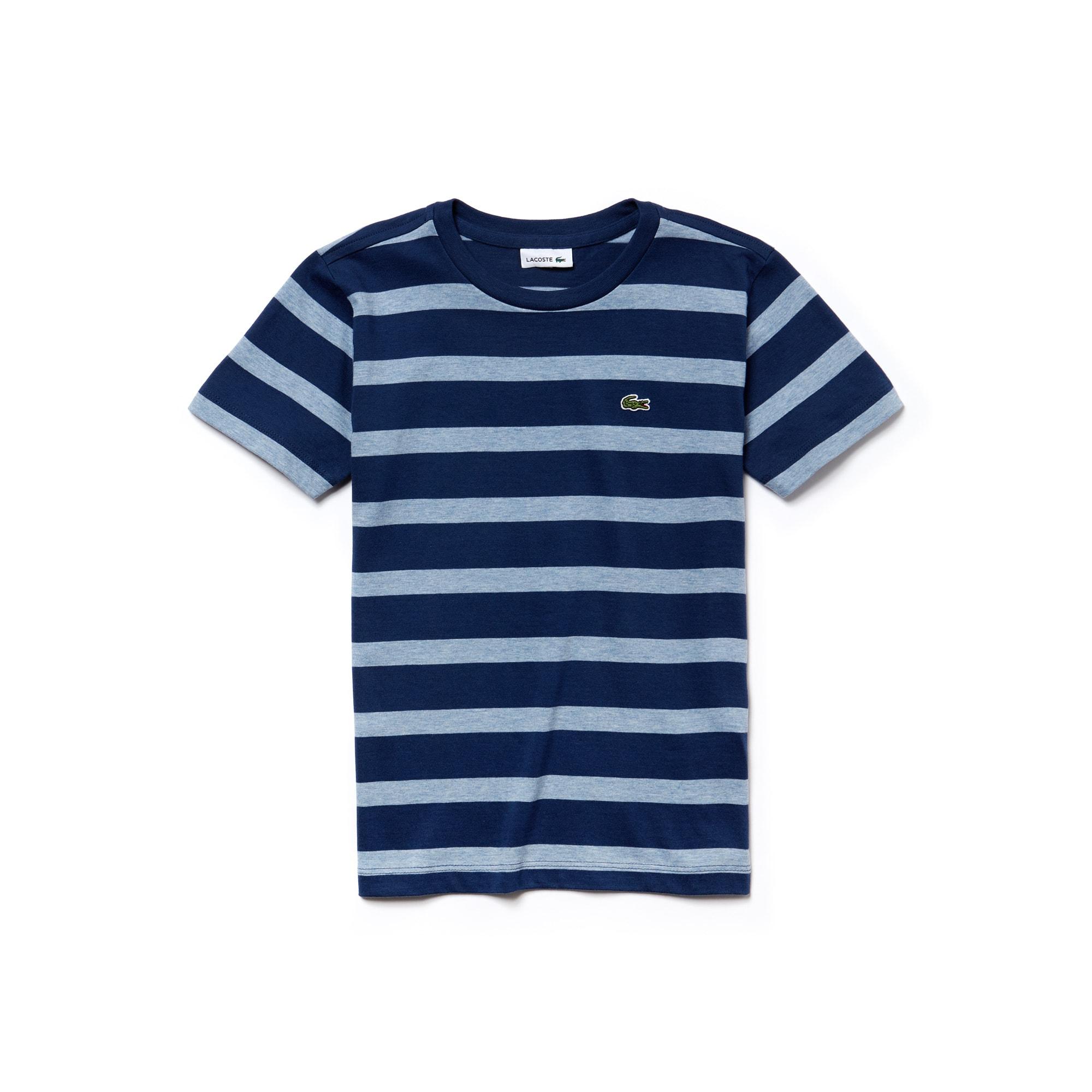 Camiseta Infantil Masculina em Jérsei de Algodão Listrado