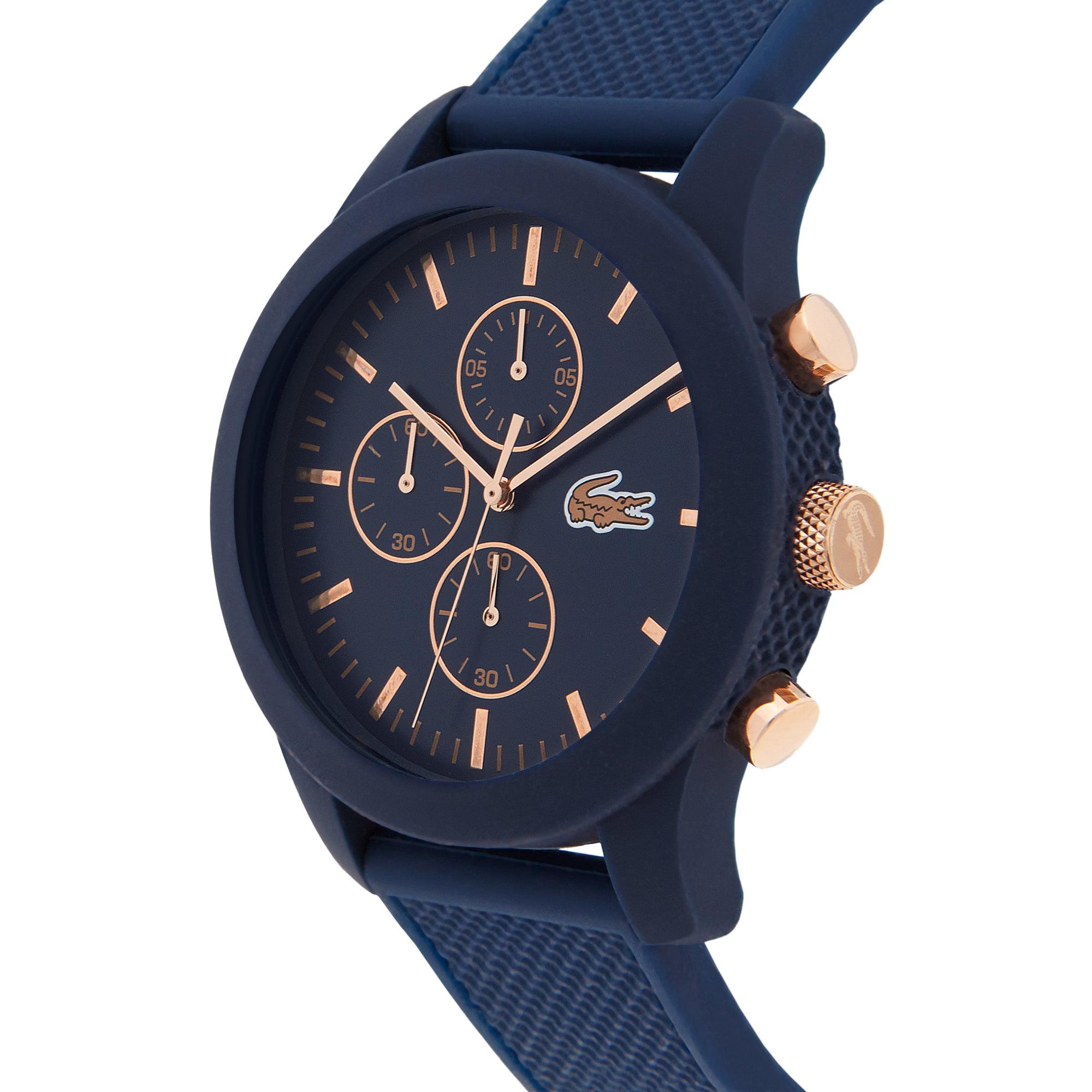 Relógio Lacoste.12.12 com cronógrafo, pulseira de silicone azul e detalhes rosé no mostrador