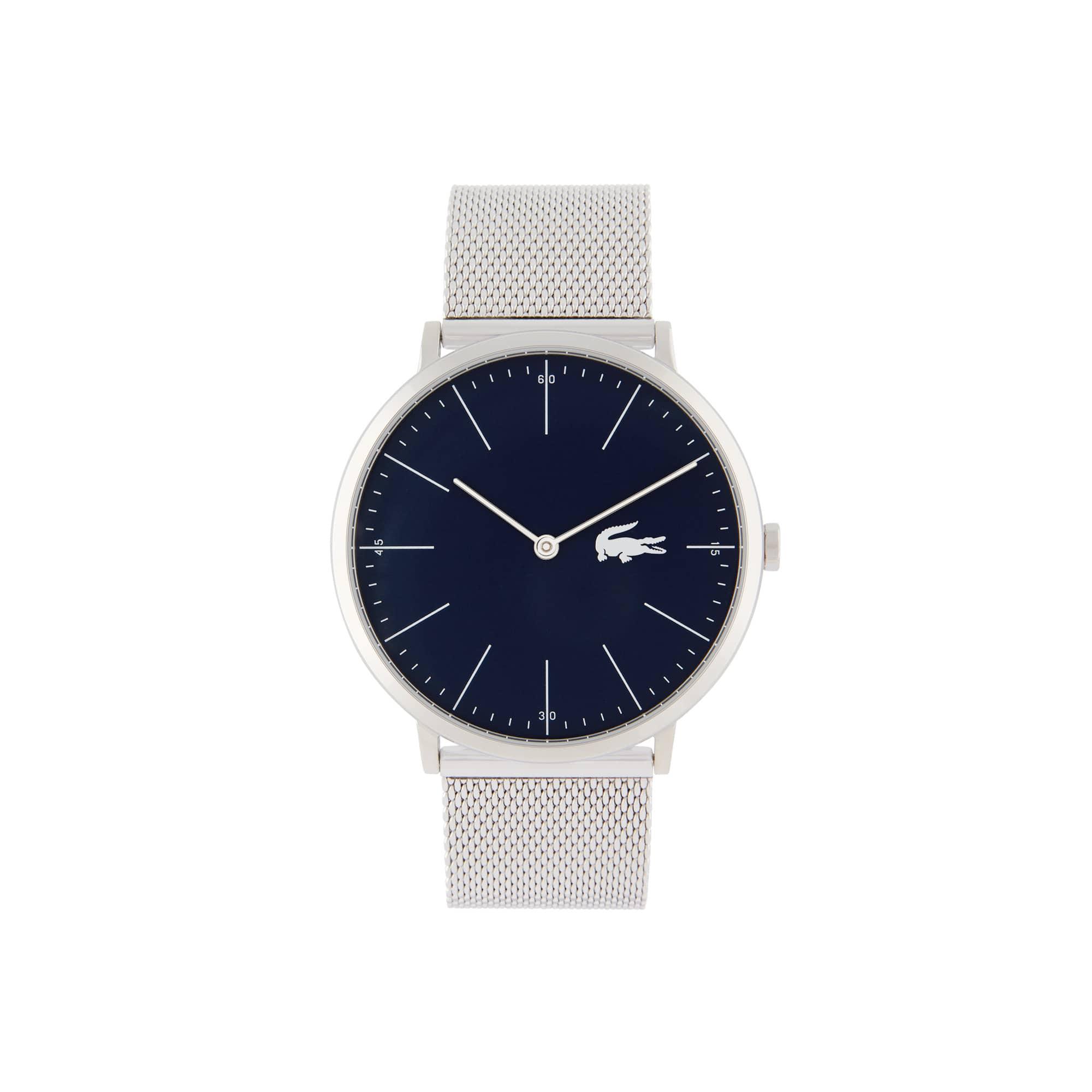 Relógio ultra slim Moon de homem com bracelete de rede de aço inoxidável