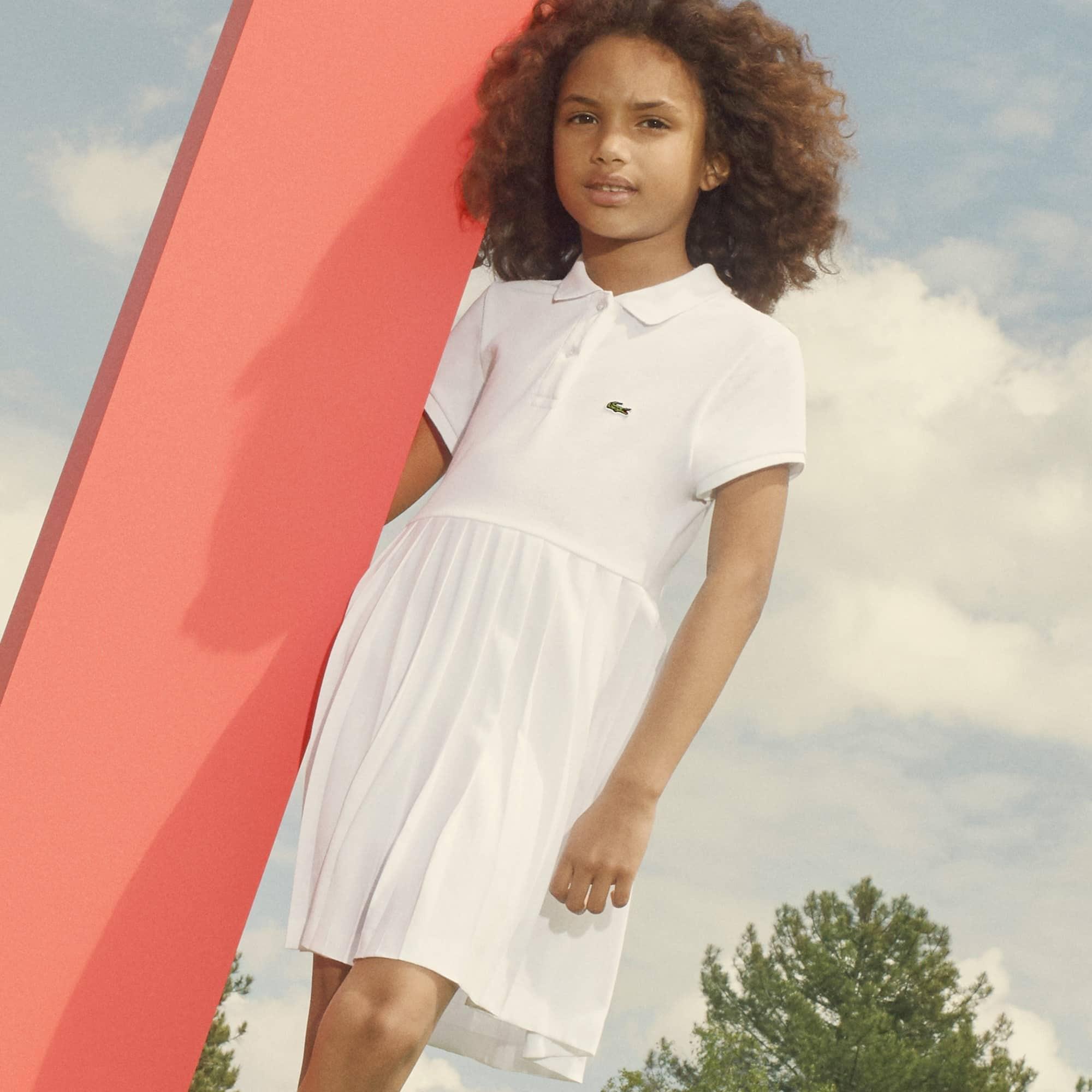 Vestido Polo Infantil em Petit Piqué de Algodão com Pregas