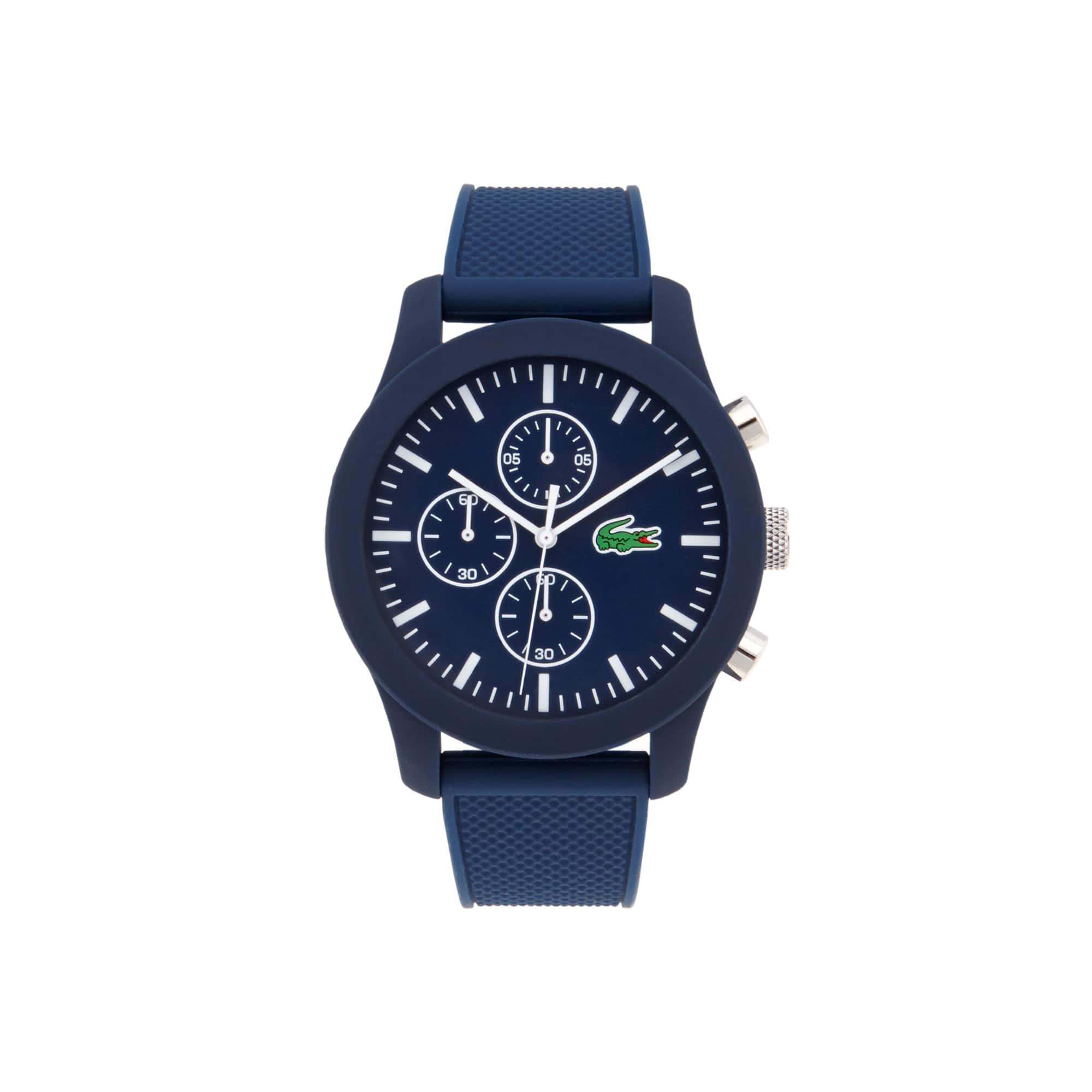 Relógio Lacoste.12.12 com cronógrafo e pulseira de silicone azul