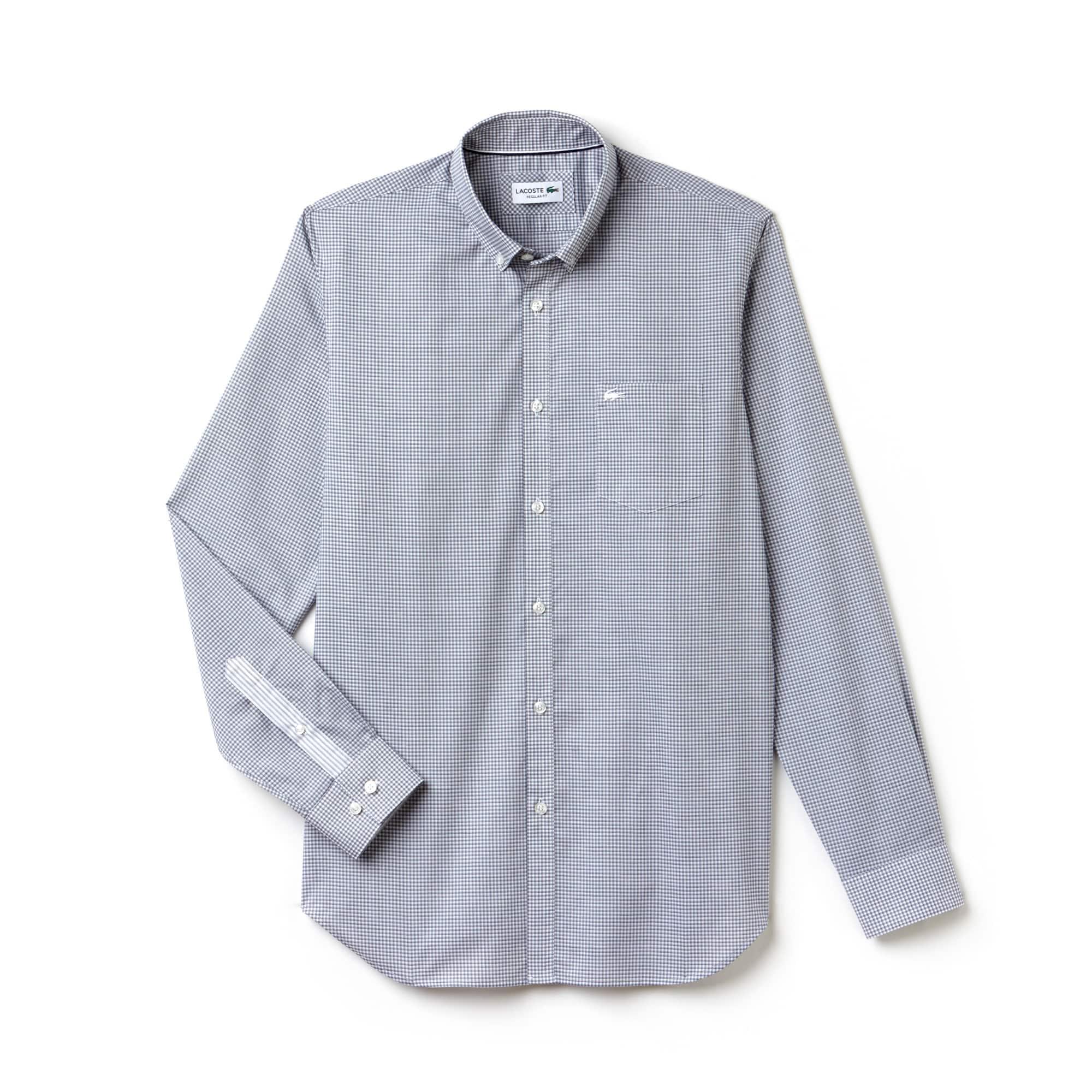Camisa Regular Fit Masculina em Popelina de Algodão Mini Xadrez