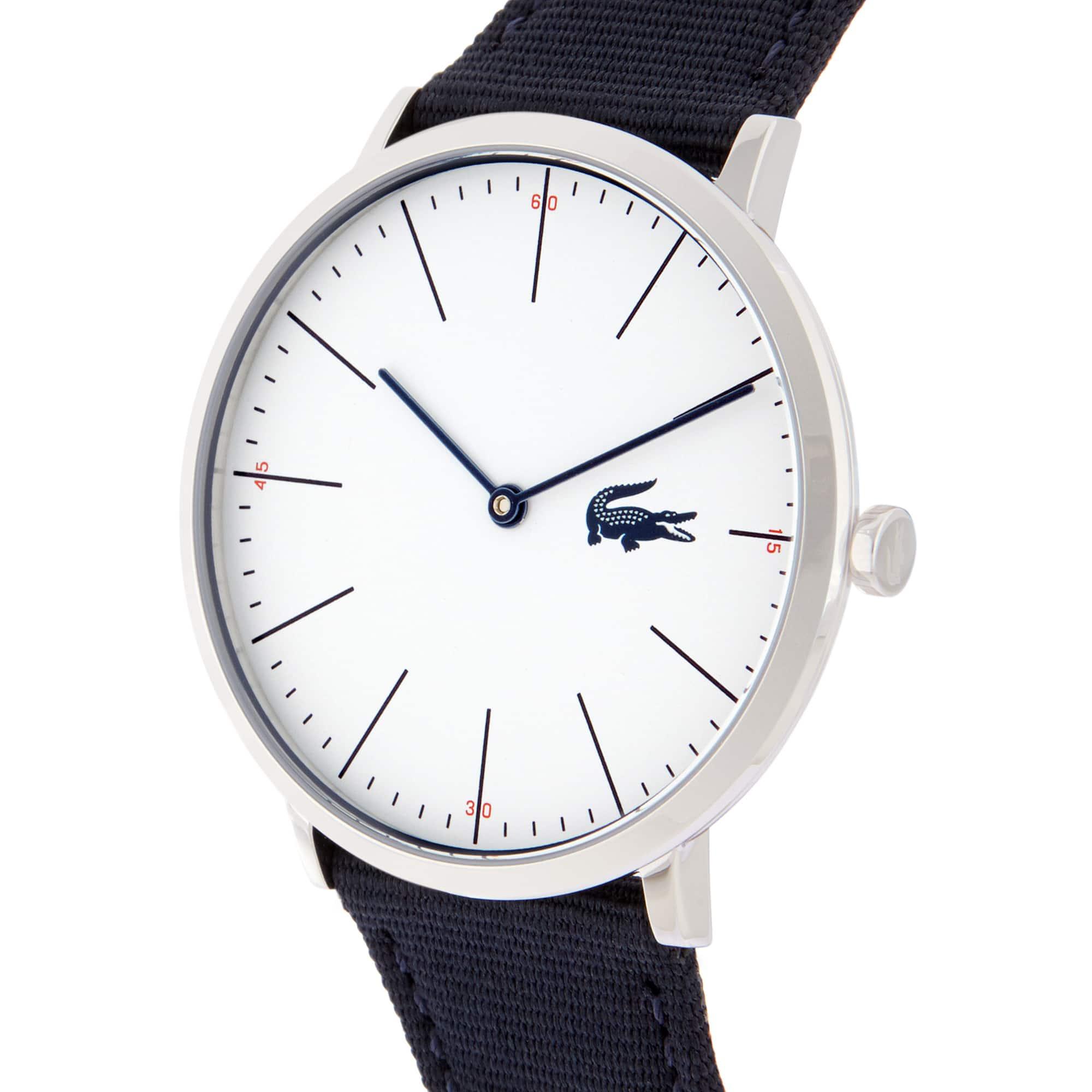 Relógio ultra slim Moon de homem com bracelete de tecido azul