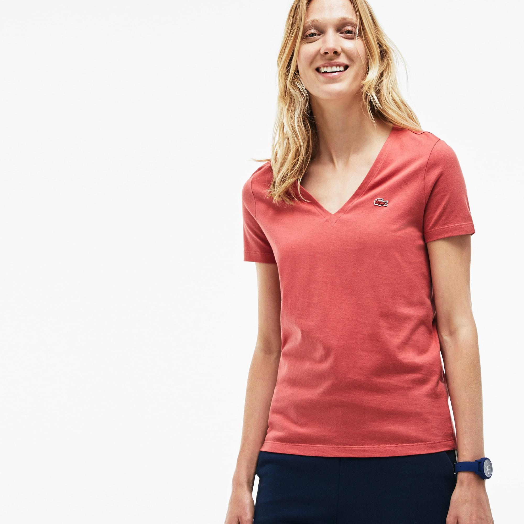 T-shirt de decote em V slim fit em jersey de algodão unicolor ... 614f3d86cb