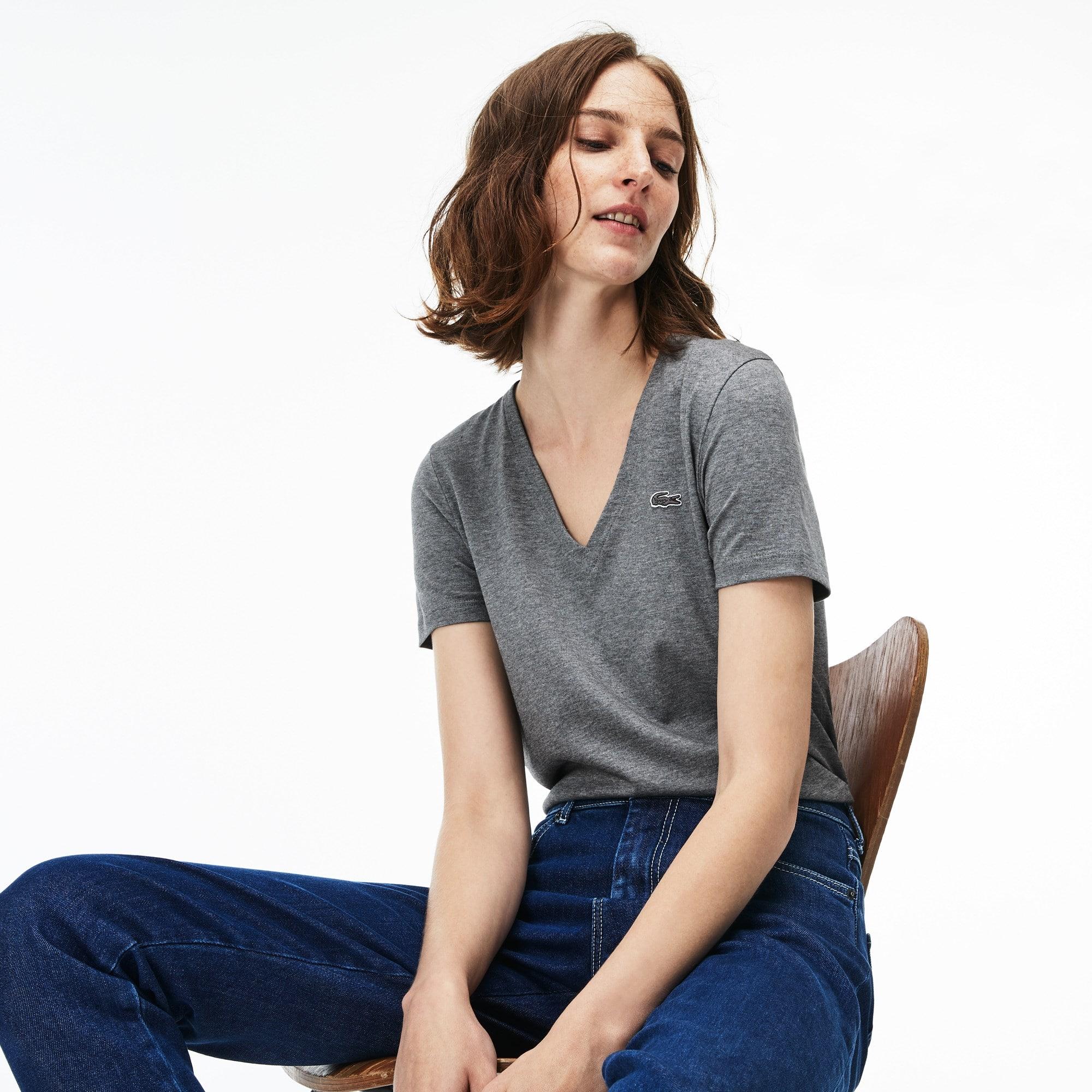 T-shirt de decote em V slim fit em jersey de algodão unicolor
