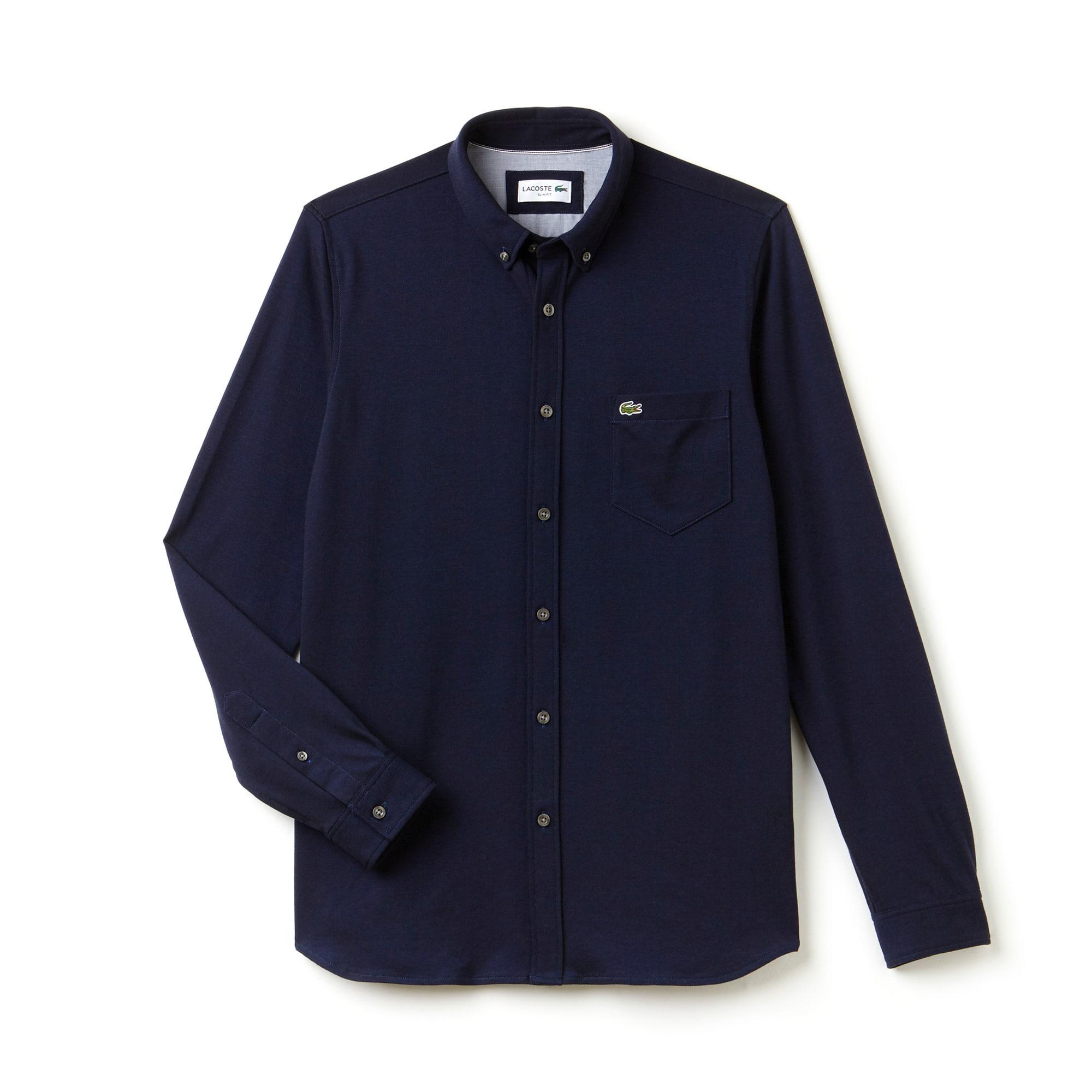 Camisa Slim Fit Masculina em Jérsei de Algodão