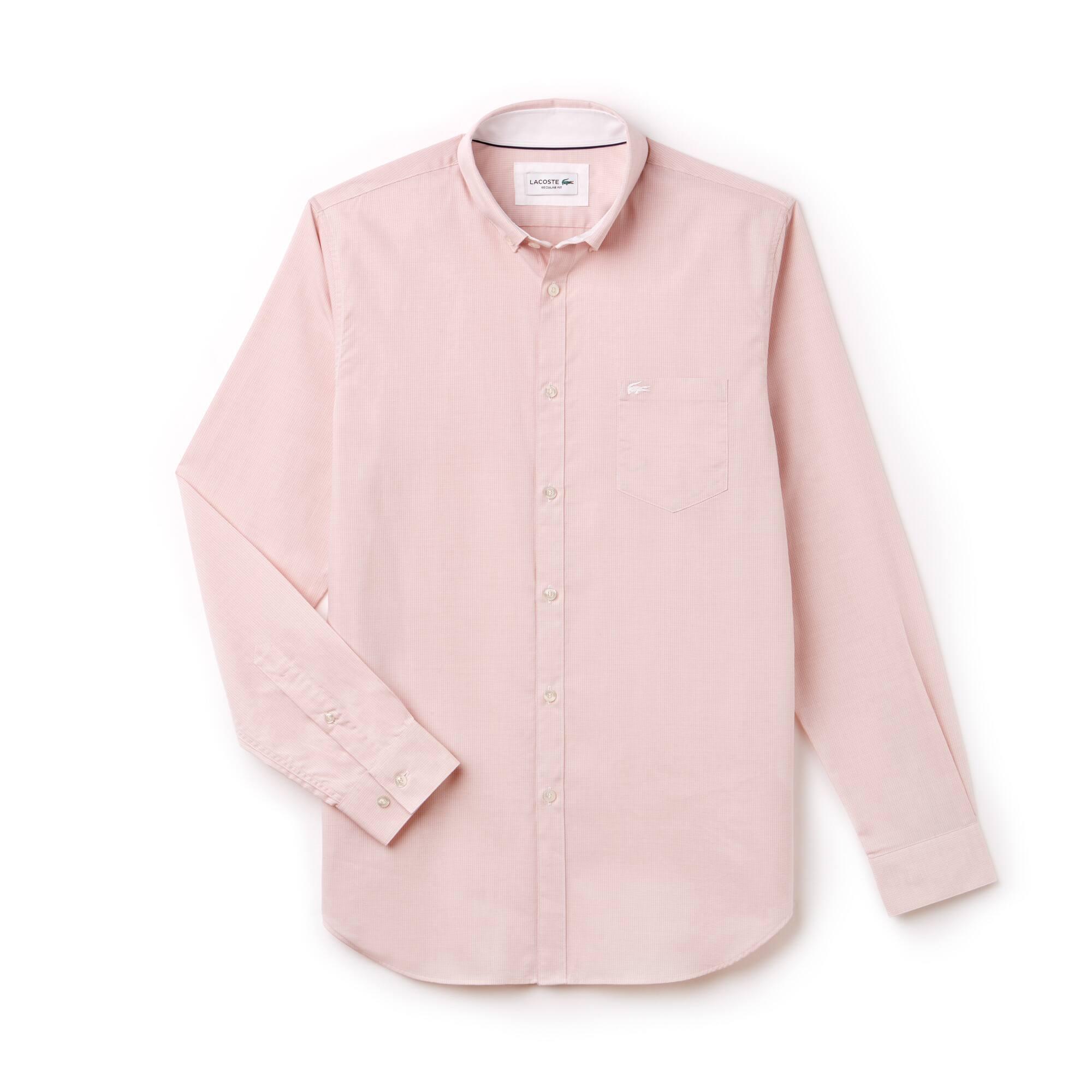 Camisa Regular Fit Masculina em Popeline Texturizada