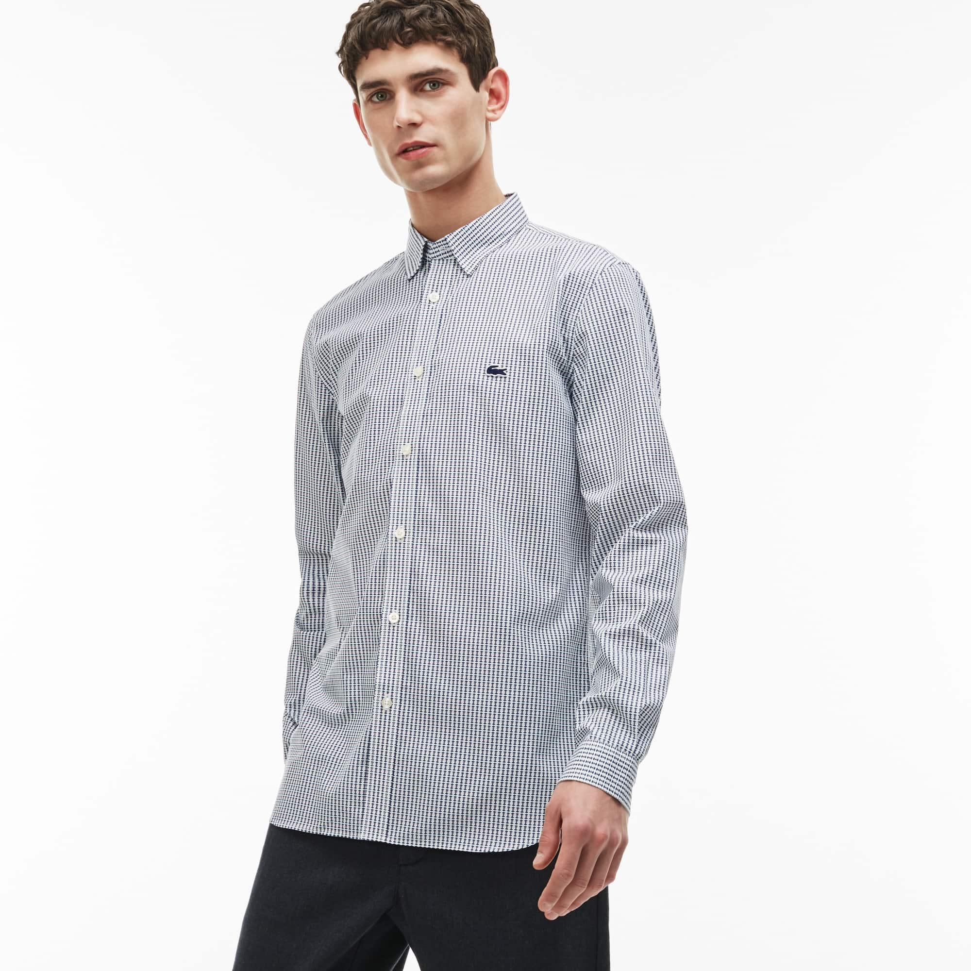 Camisa Slim Fit Masculina de Popelina de Algodão Estampado