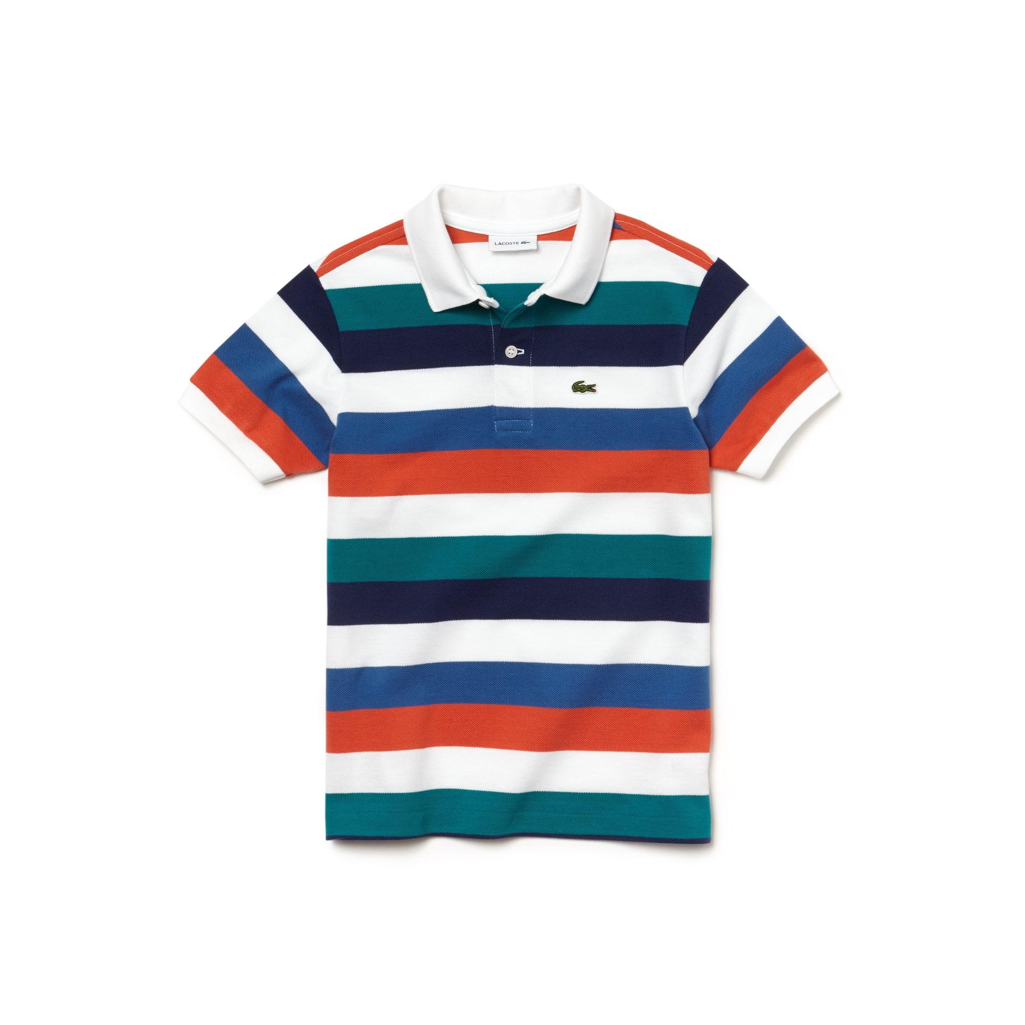 Camisa Polo Lacoste Masculina Infantil em Piqué com Listras Coloridas