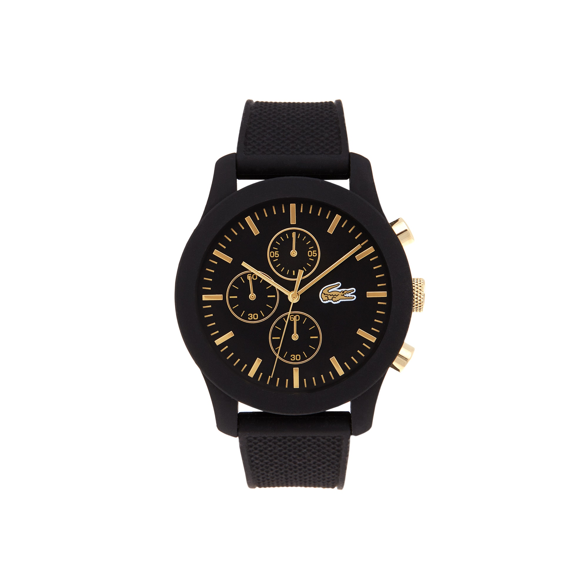 Relógio Lacoste.12.12 com cronógrafo, pulseira de silicone preta e detalhes dourados no mostrador