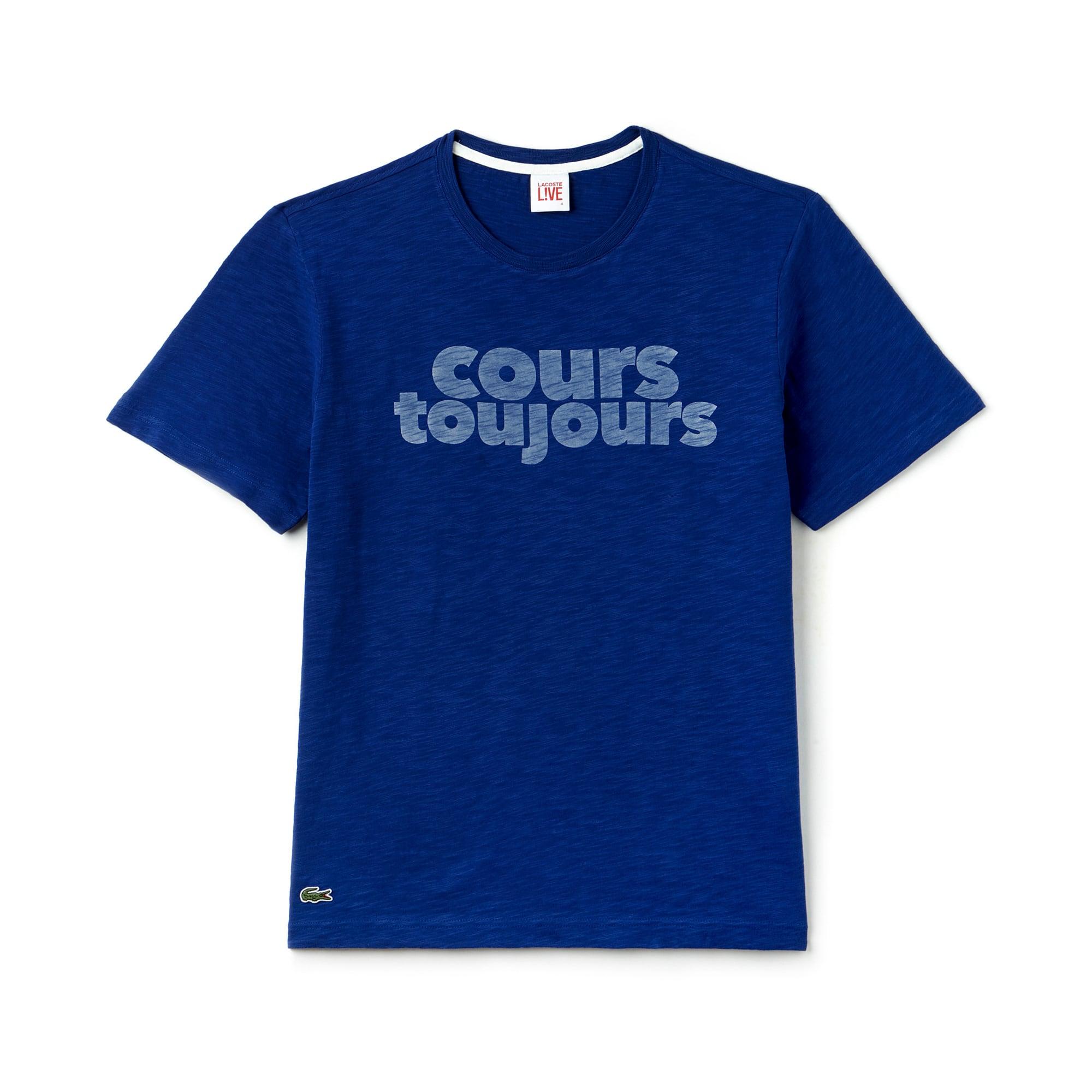 Camiseta Lacoste LIVE unissex em tecido jérsei com gola redonda e estampa cours toujours