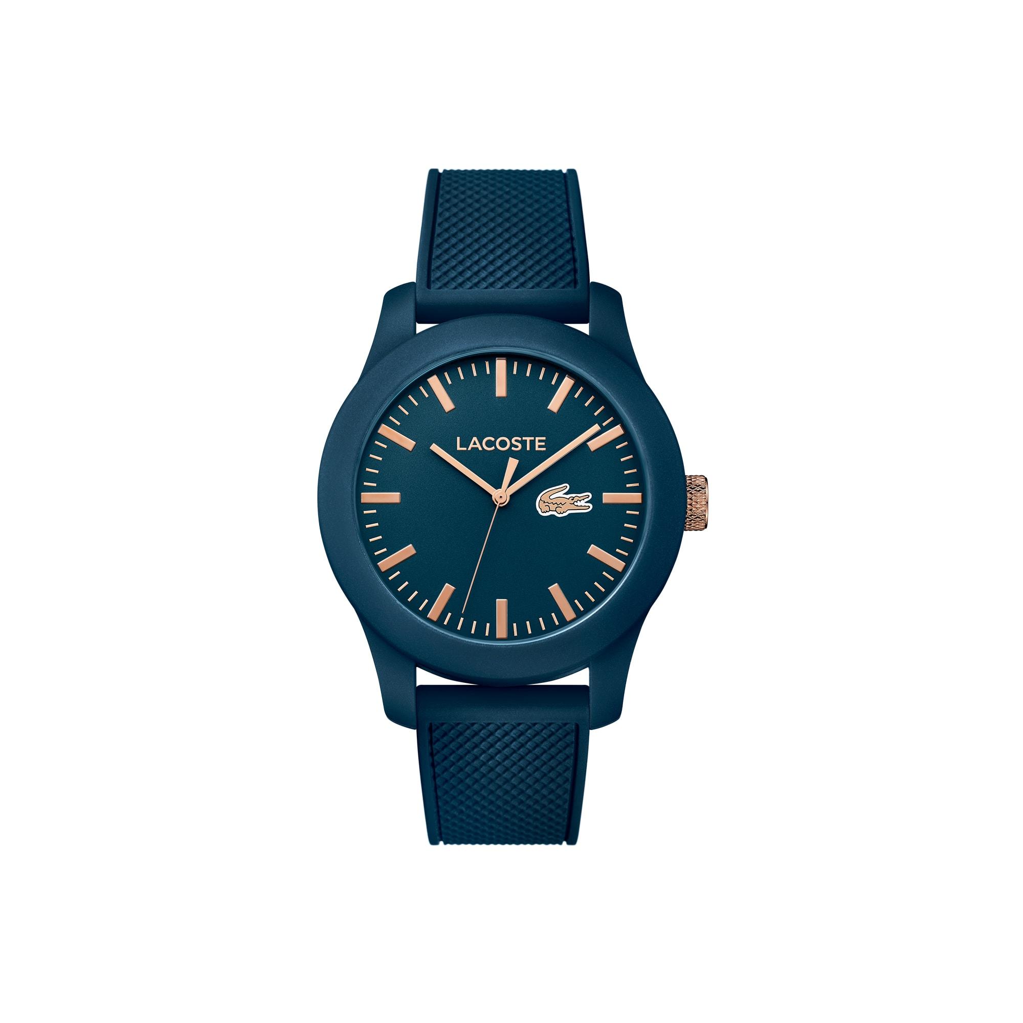 Relógio Lacoste.12.12 com pulseira de silicone azul e detalhes rosé no mostrador