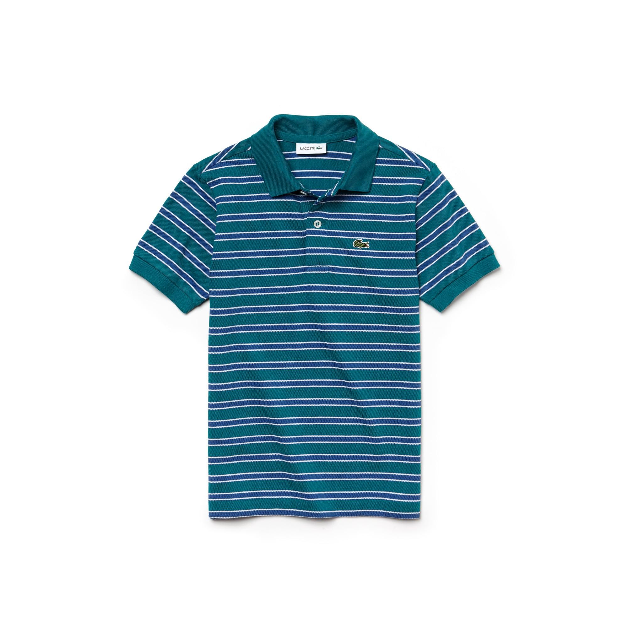 Camisa Polo Lacoste Masculina Infantil Listrada em Piqué de Algodão