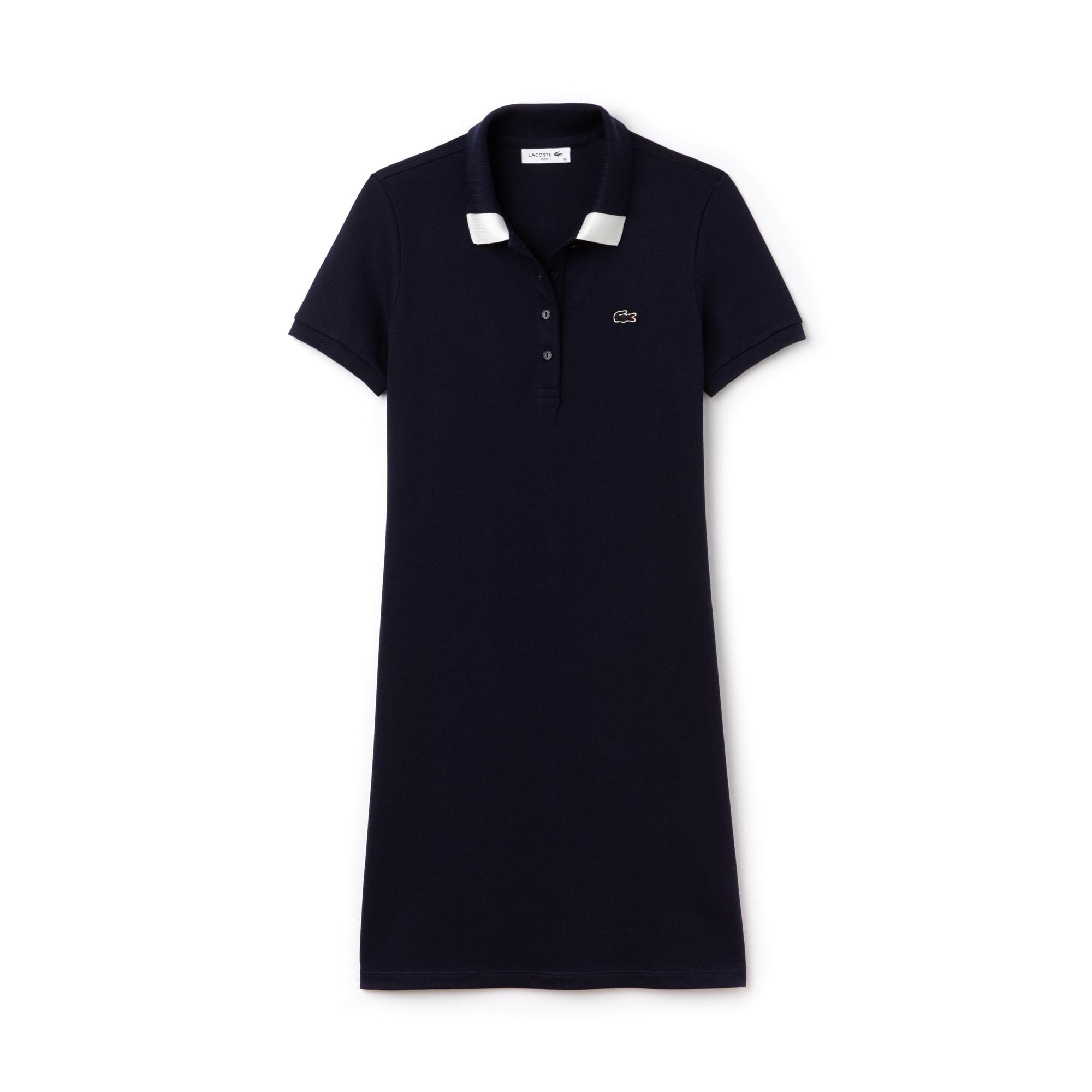 Vestido Slim Fit Bicolor em Minipiqué Stretch com Gola Polo