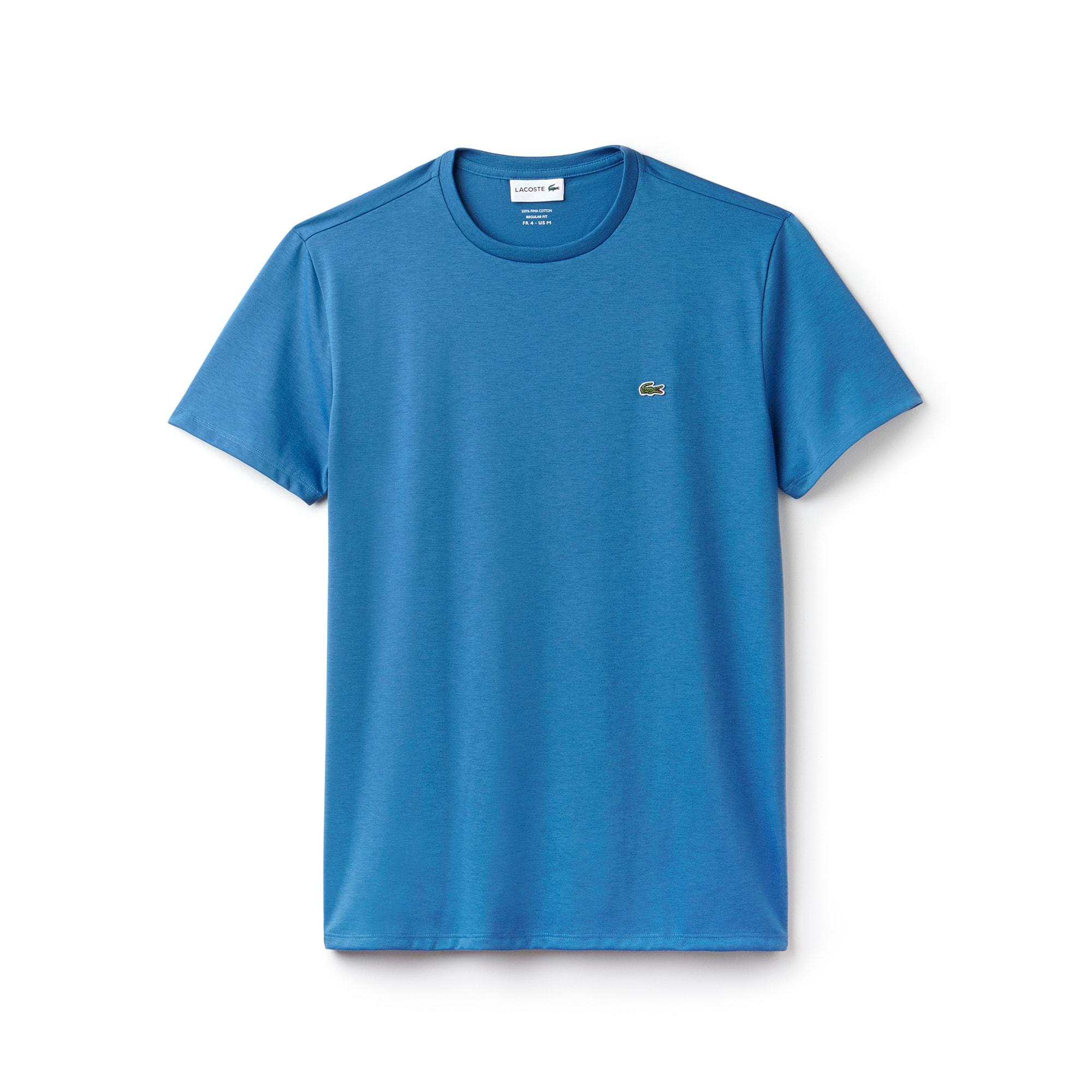 T-shirt decote redondo em jersey de algodão pima unicolor