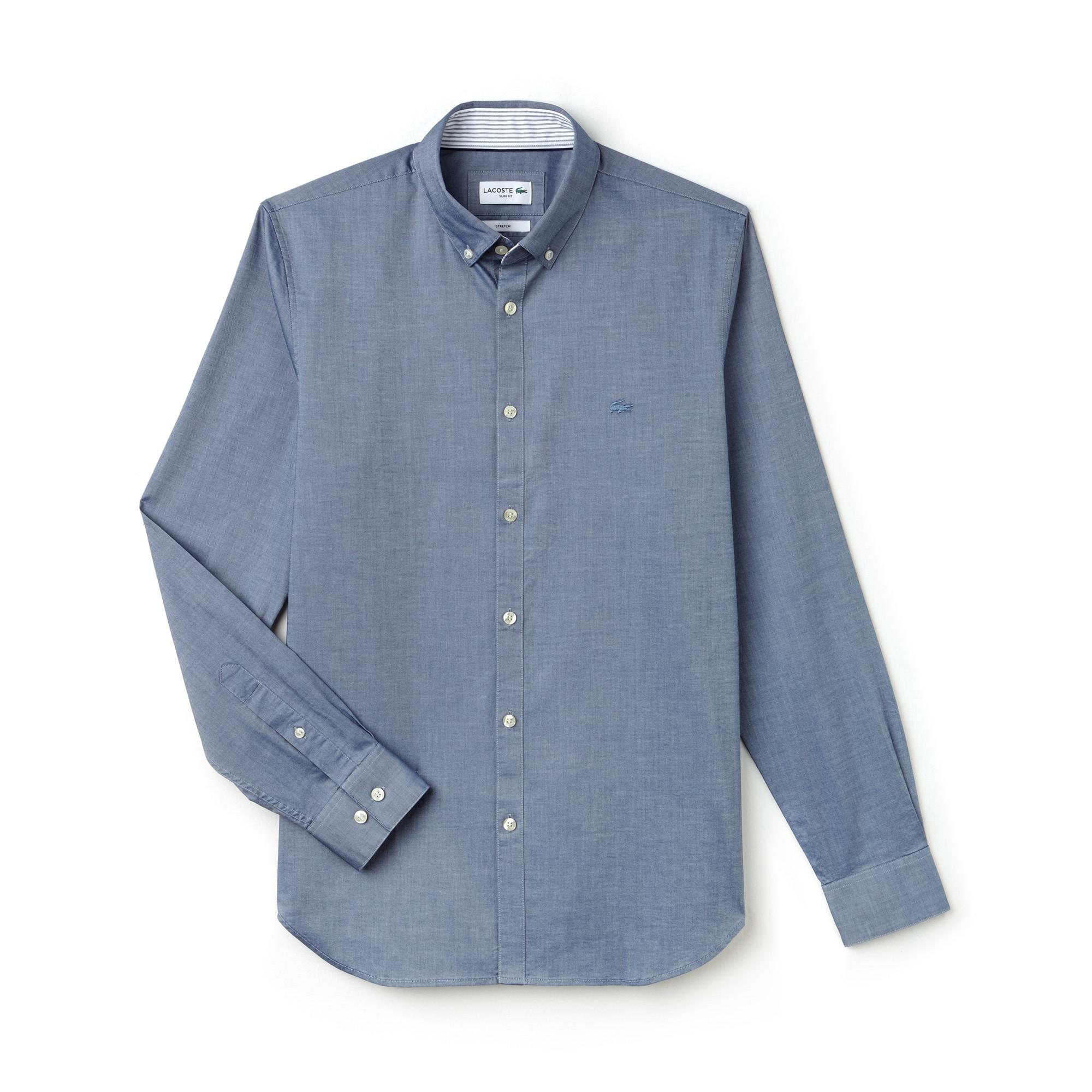 Camisa Slim Fit Masculina em Popelina de Algodão Stretch