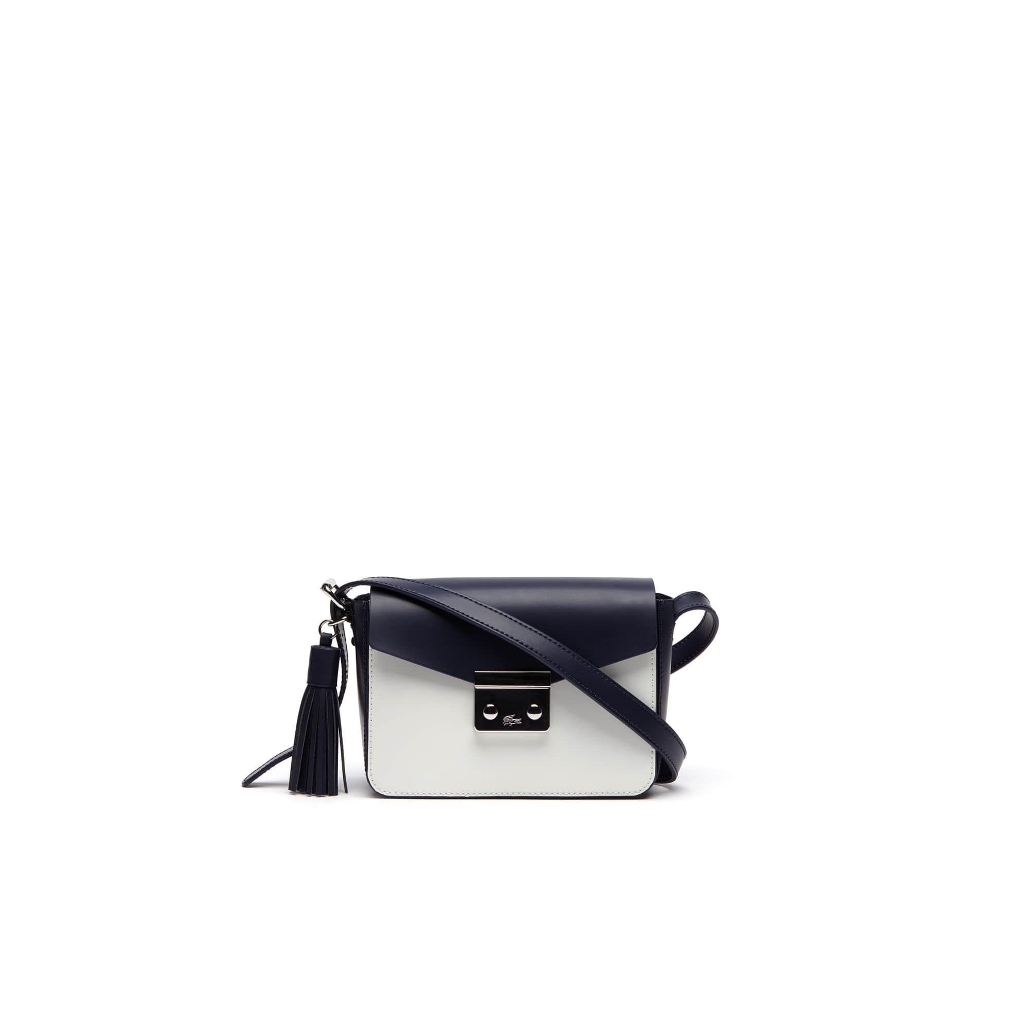 Bolsa tiracolo Lacoste LIVE feminina, revestida em couro e com formato Mini Tennis Square