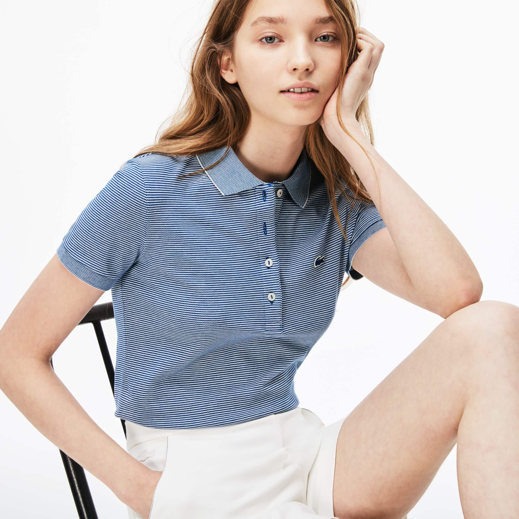 Camisa Polo Lacoste Slim Fit Feminina em Minipiqué Stretch com Listras Finas