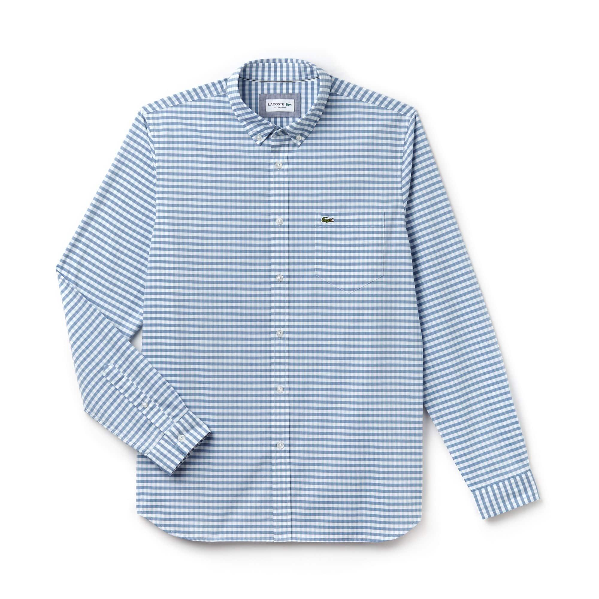 Camisa Regular Fit Masculina em Popeline de Algodão Minixadrez