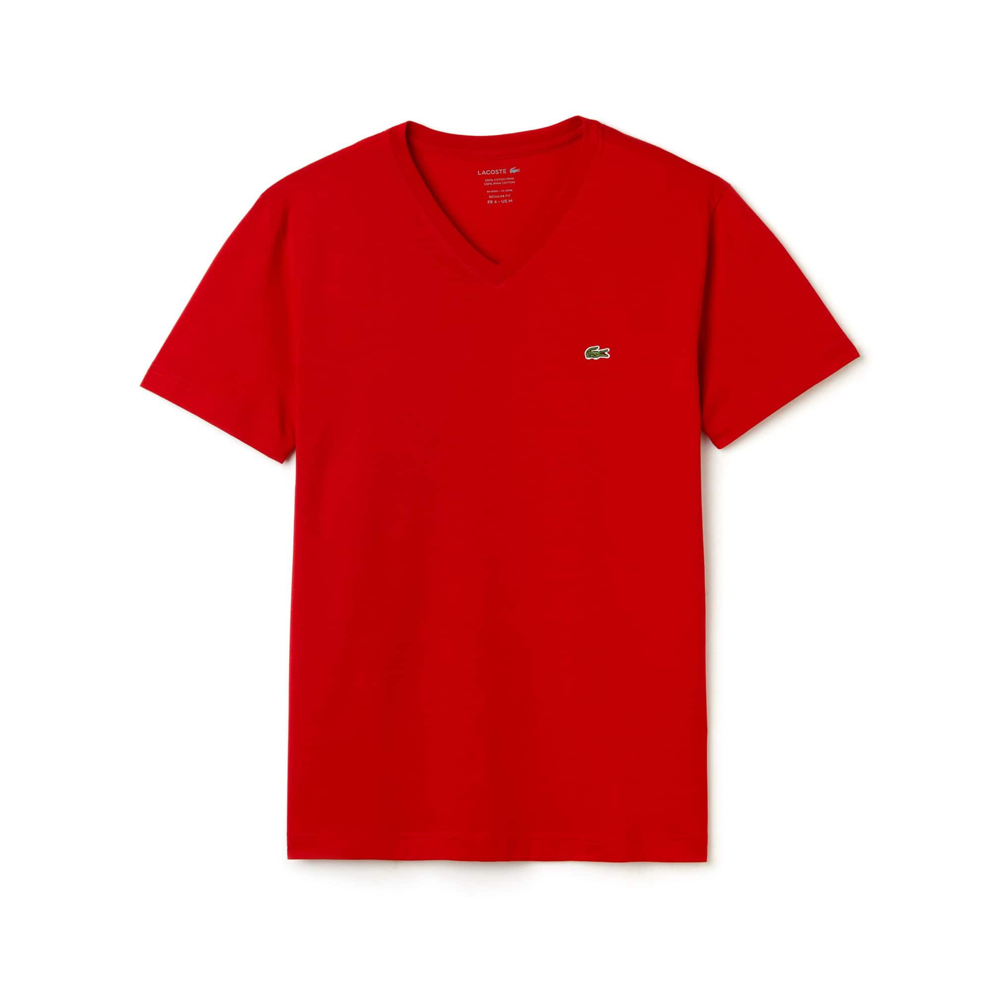 Camiseta regular fit masculina com gola V em algodão pima